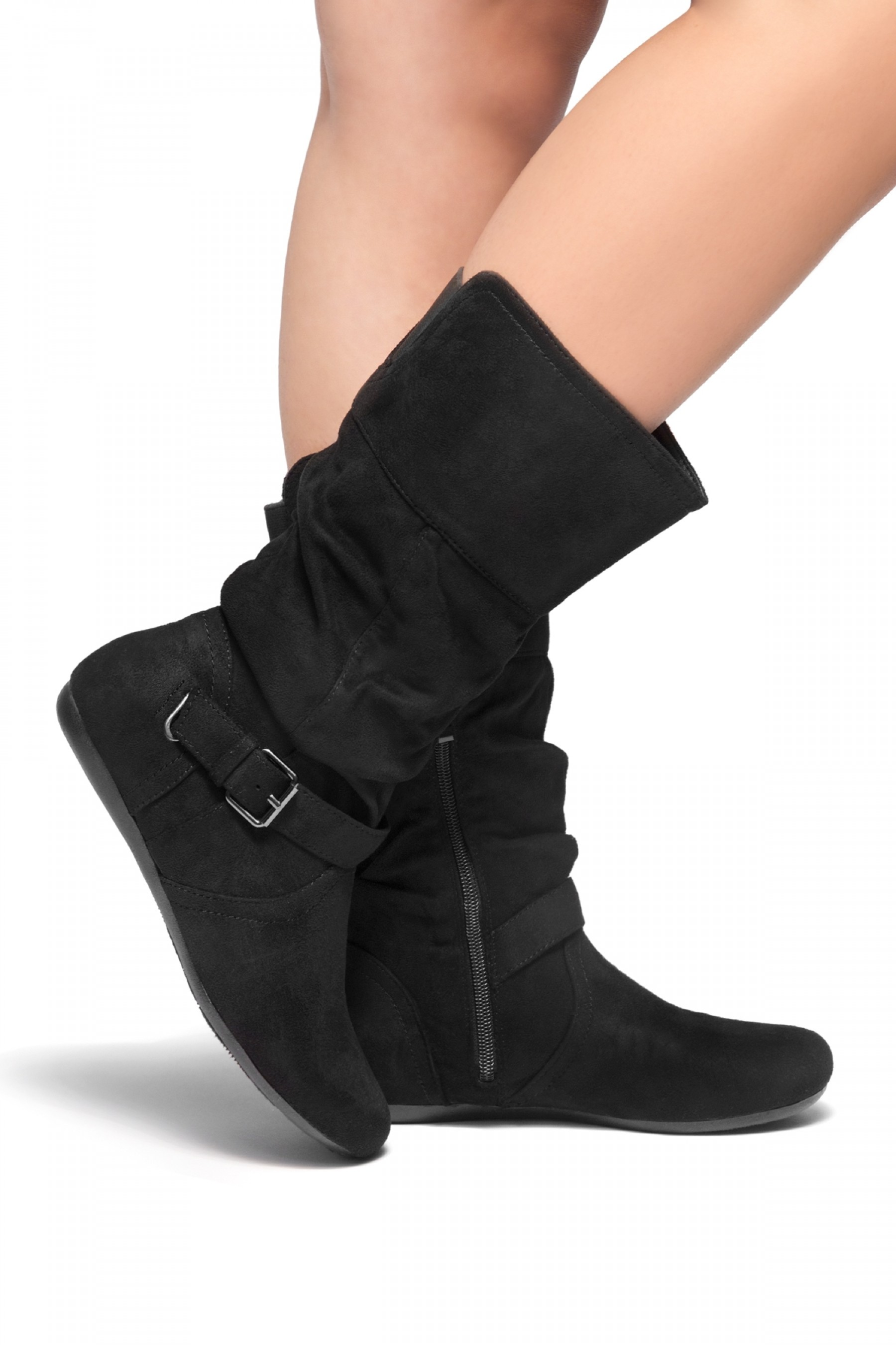 Women Wedge Boots Side Zipper