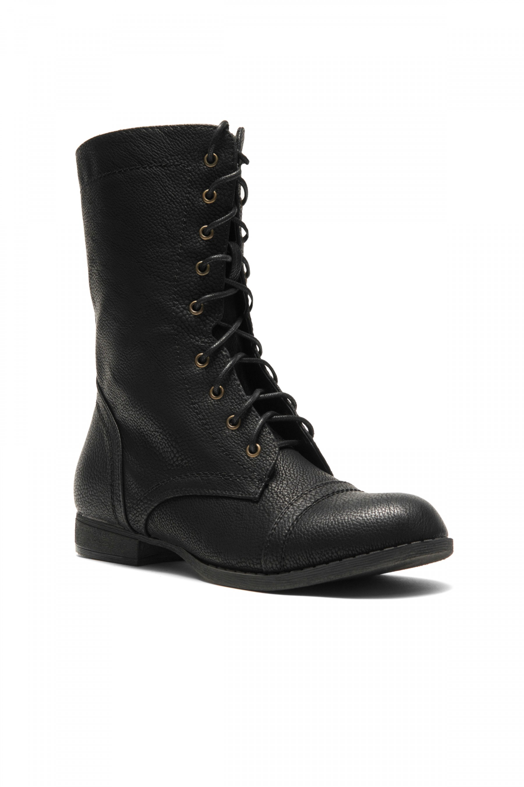 HerStyle Korraa-2 Military Lace up Combat Boots (Black)