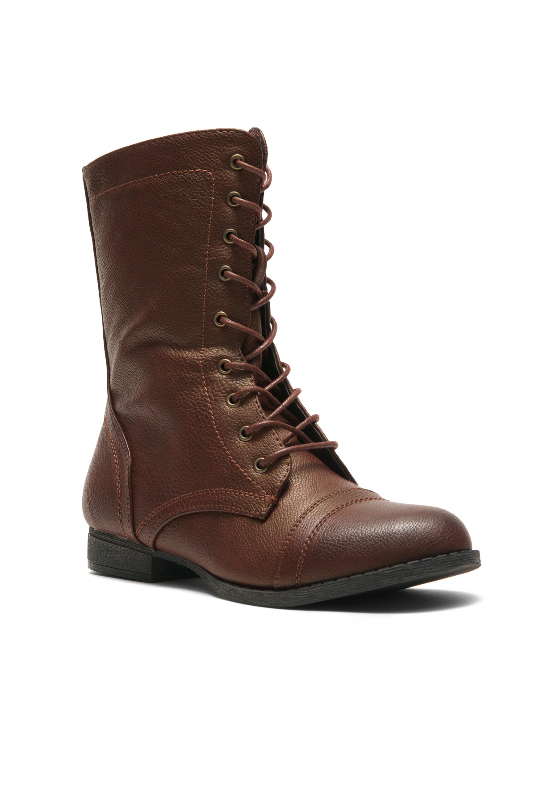 HerStyle Korraa-2 Military Lace up Combat Boots (Burgundy)