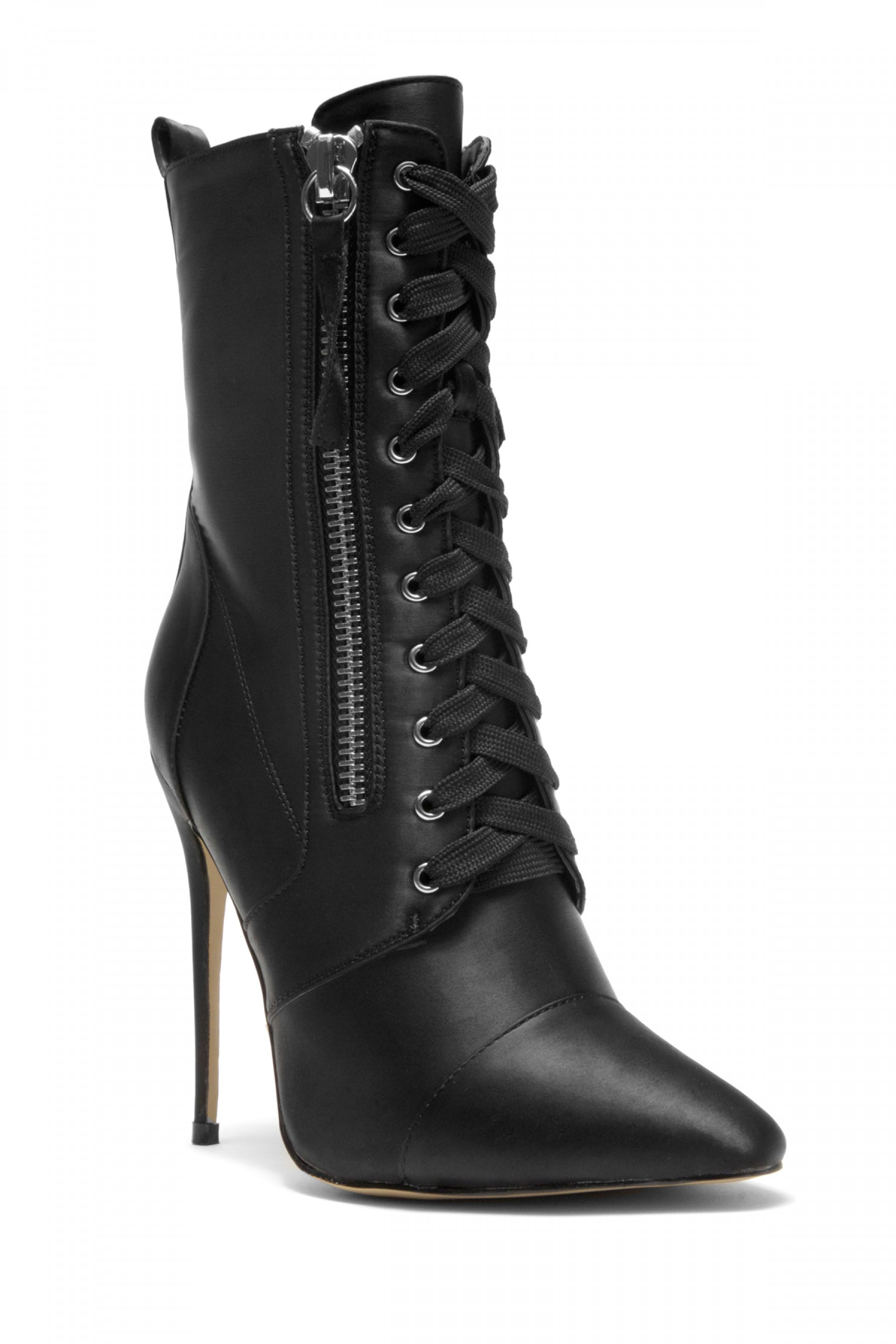 HerStyle Kylinna Zip Detail Lace Up stiletto Ankle Boot in Satin (Black)