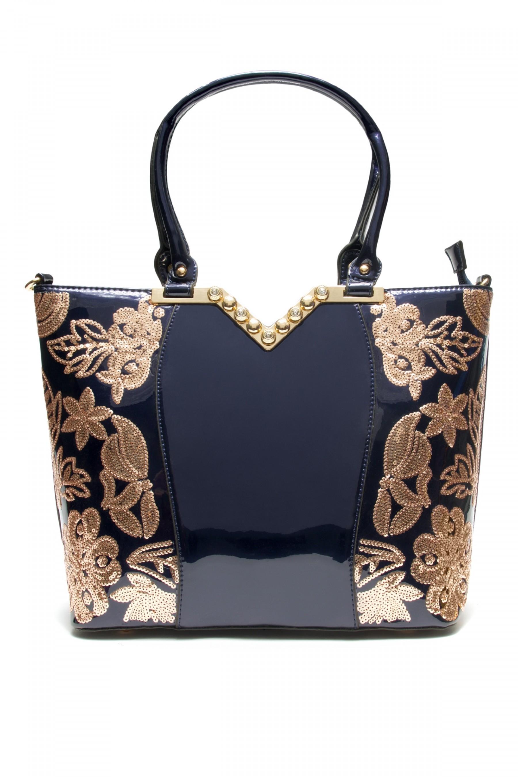 SLC-662119- High-end Patent Elegant Sequin Bag (Blue)