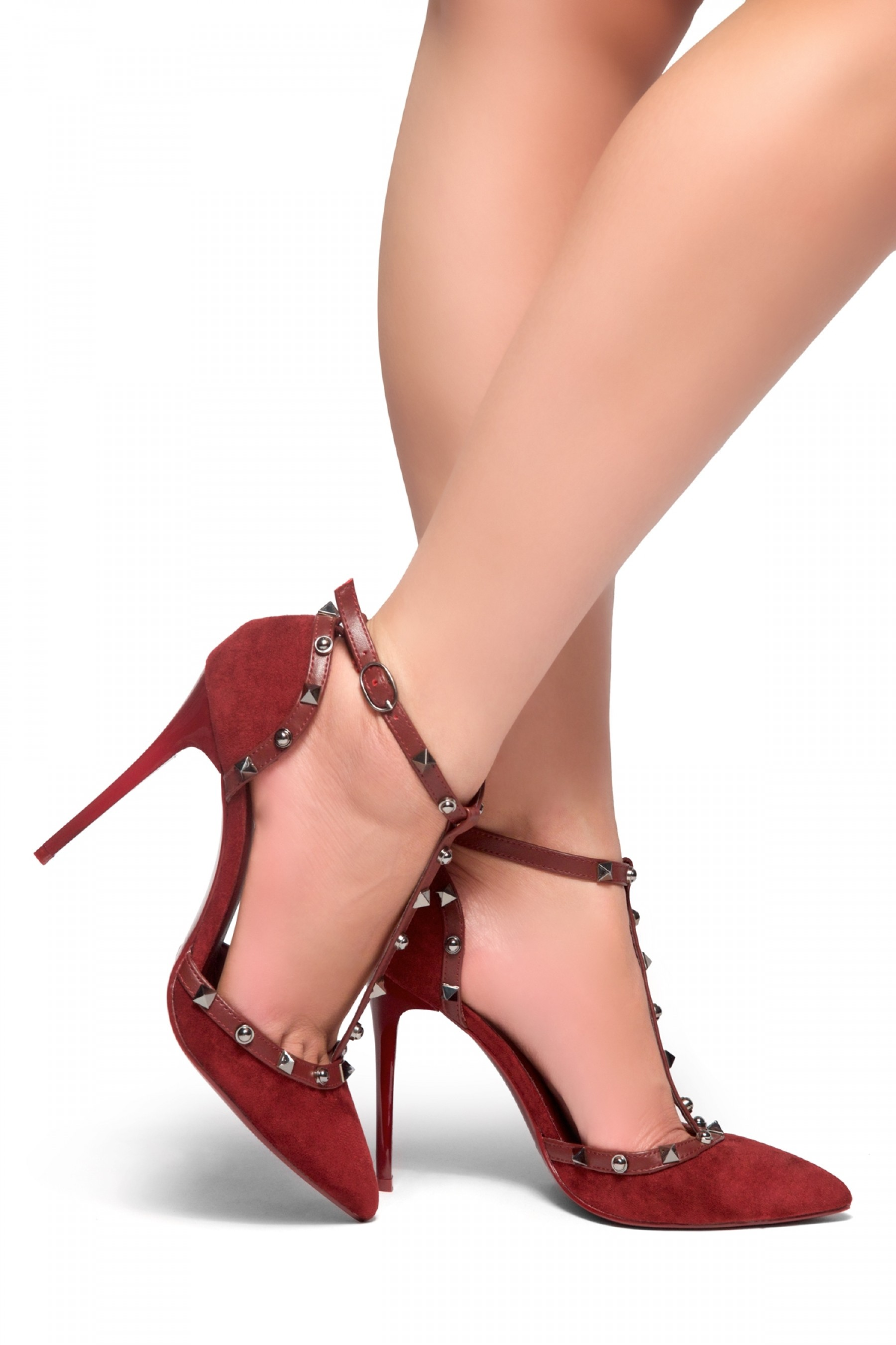 Laumea-Pointed toe, stiletto heel, ankle strap, Studs Pumps (Burgundy)