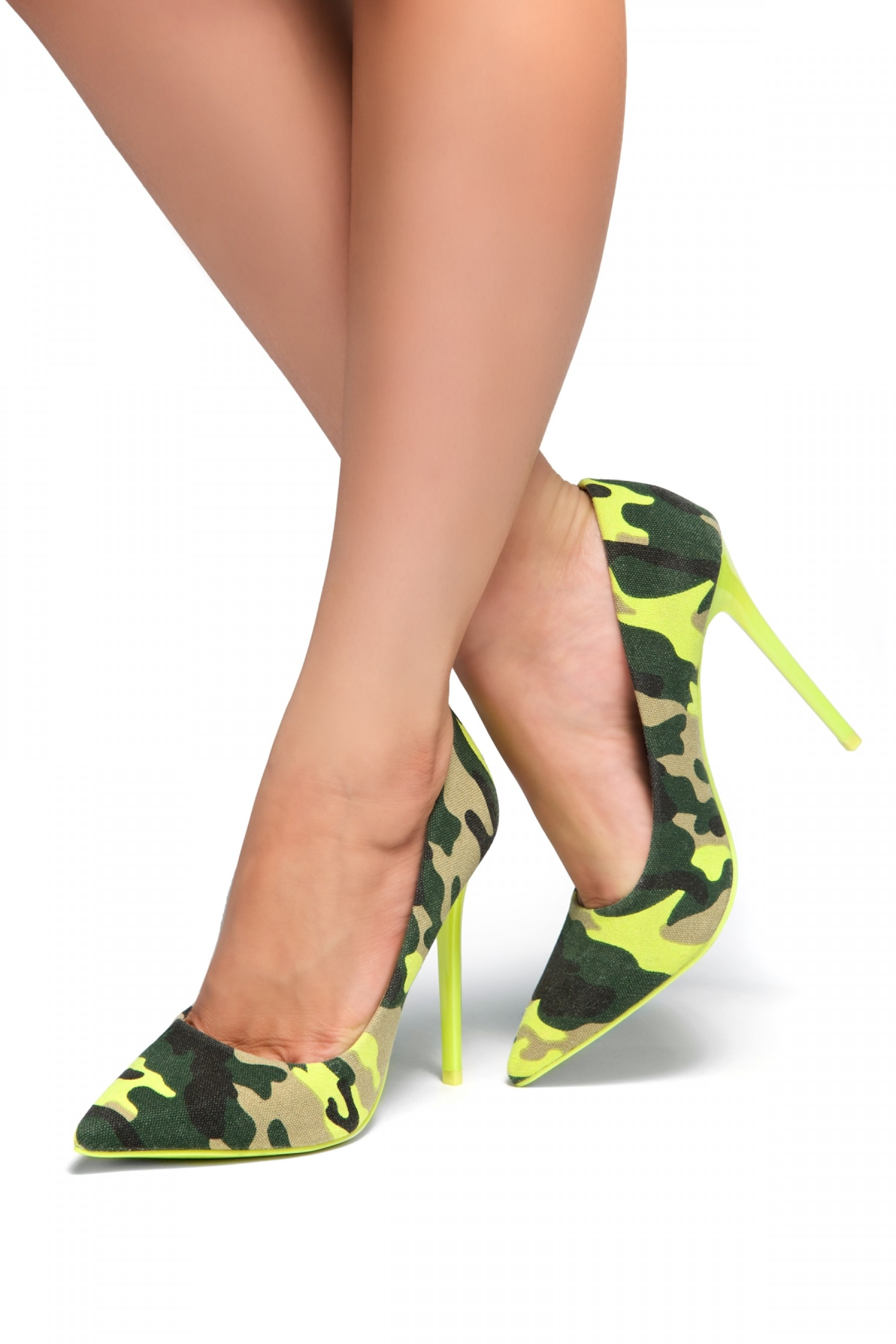 HerStyle Laurie-Camouflage Pump, stiletto heel (Lime/Camouflage)