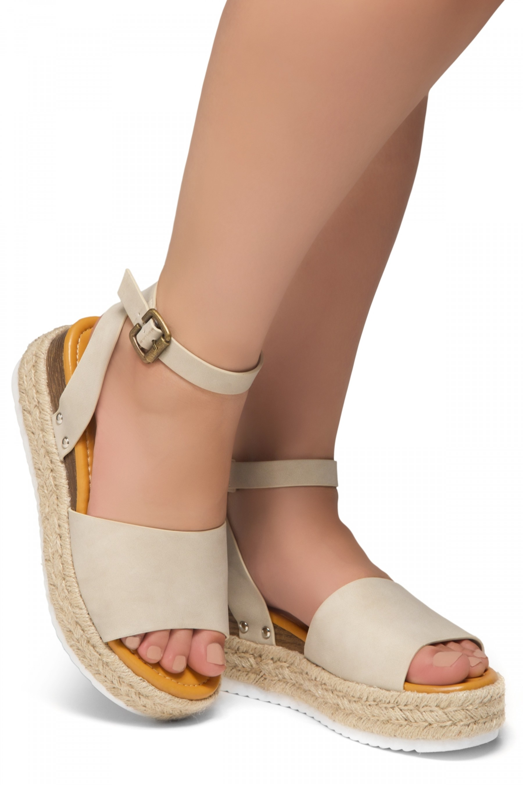 Shoe Land Legossa-Women's Open Toe Ankle Strap Platform Wedge Shoes Casual Espadrilles Trim Flatform Studded Wedge Sandals (1825/Beige)