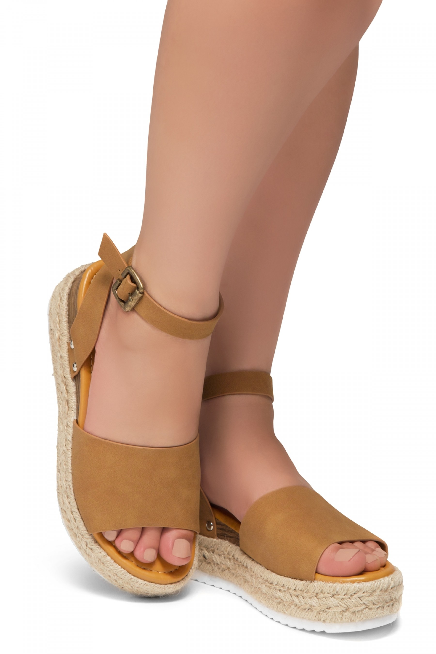 Shoe Land Legossa-Women's Open Toe Ankle Strap Platform Wedge Shoes Casual Espadrilles Trim Flatform Studded Wedge Sandals (1825/Tan)