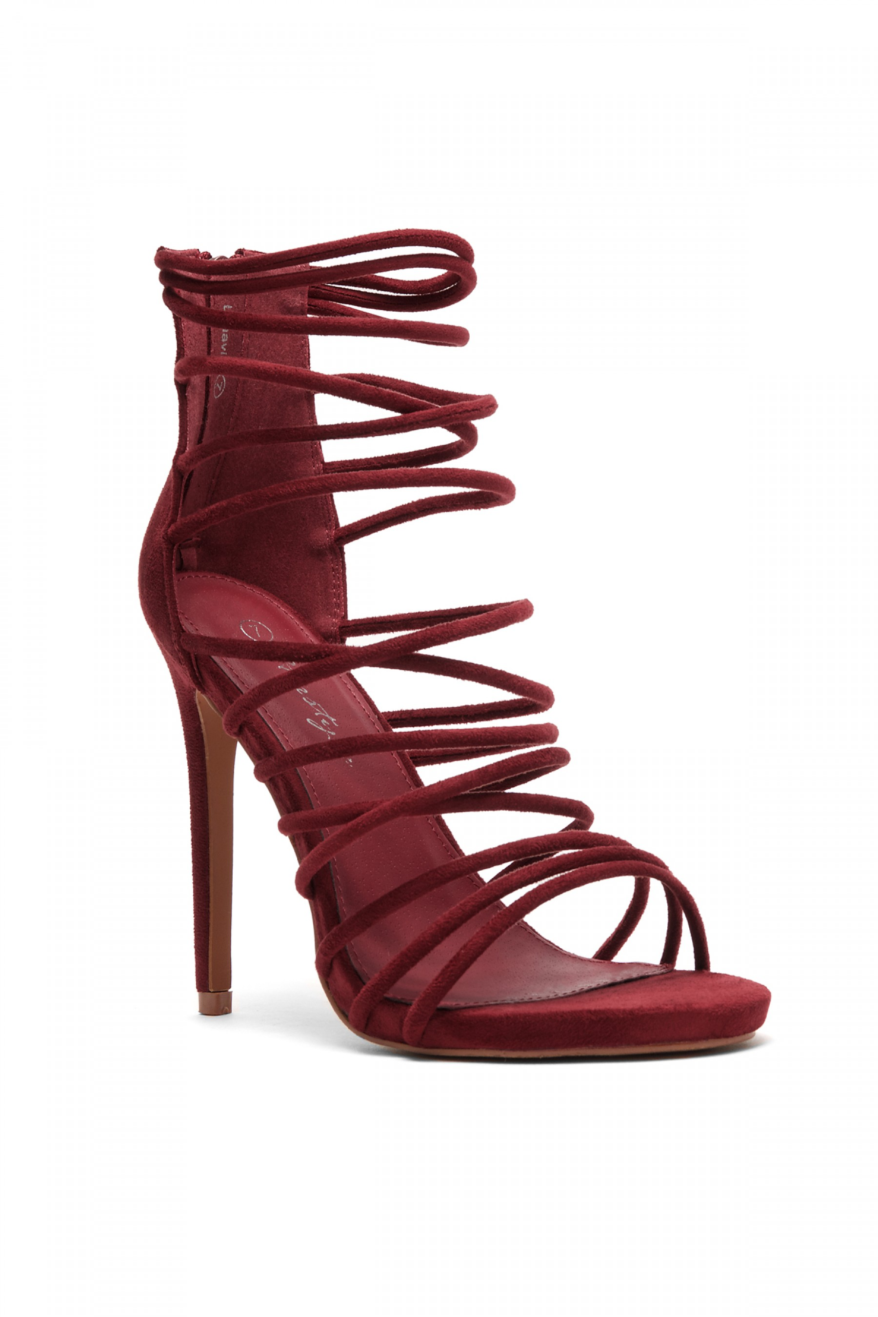 Women's Lenavia: Stiletto heel, strappy, peep toe - Burgundy