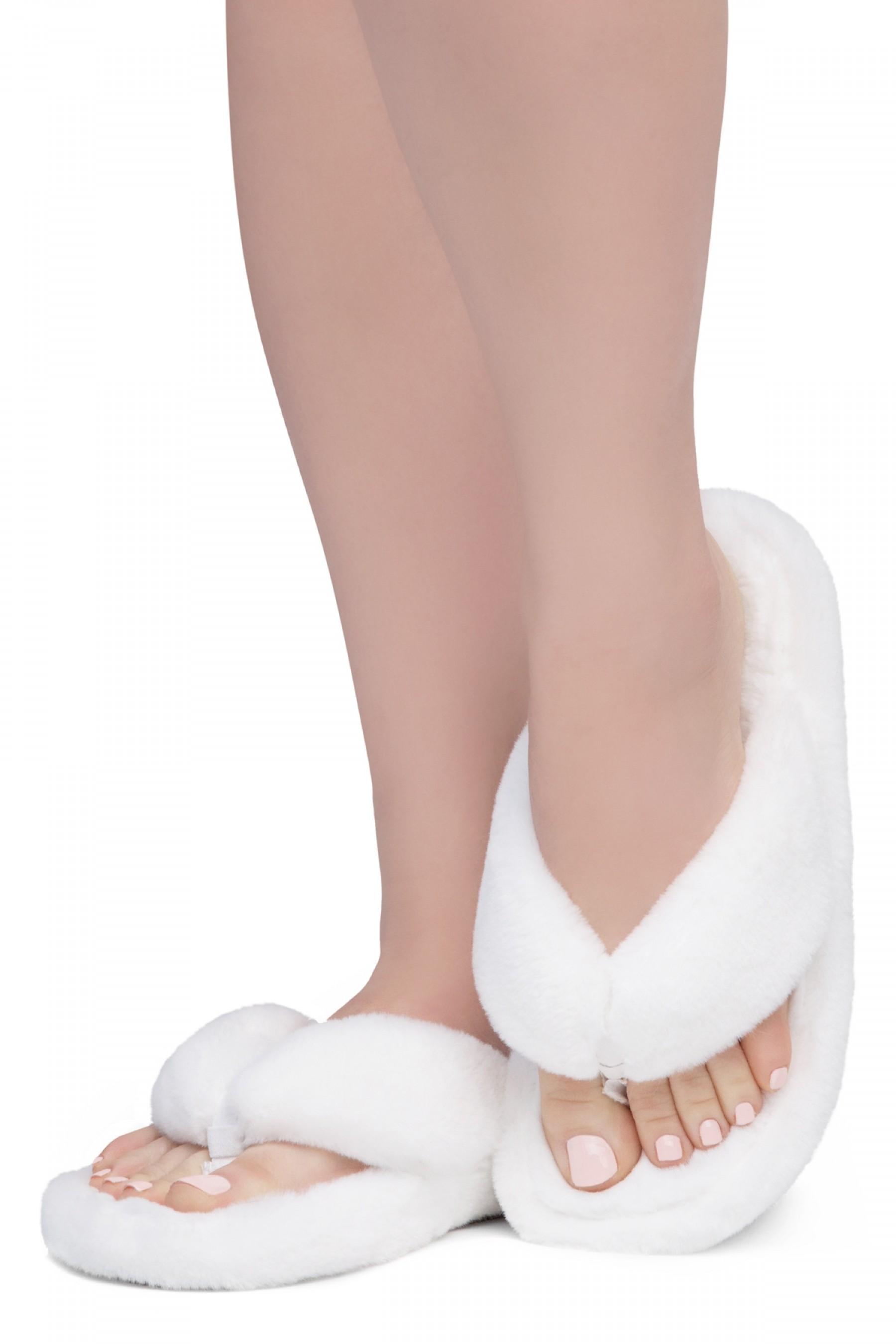 Shoe Land LESSA Women's Cozy Memory Foam Spa Thong Flip Flops Fluff Indoor Slippers Fuzzy Platform Wedge Sandals(2020White)