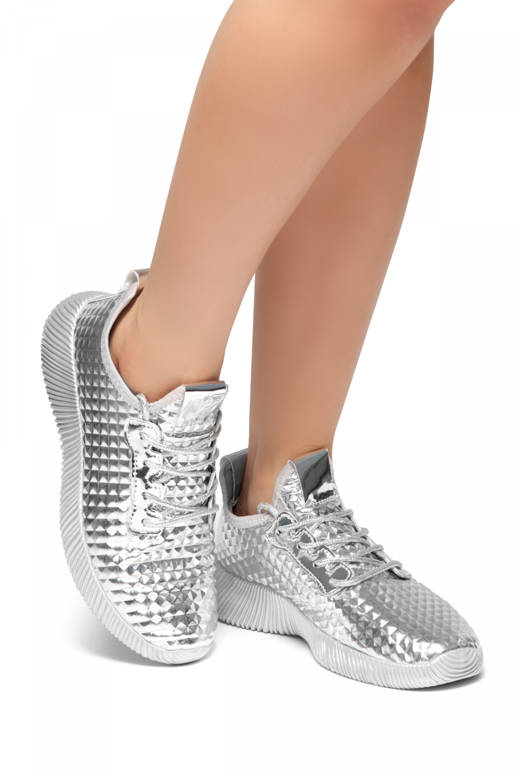 HerStyle:LIGHT SHOW-Textured Metallic Holographic Lace up Rigged Sneaker (Silver)