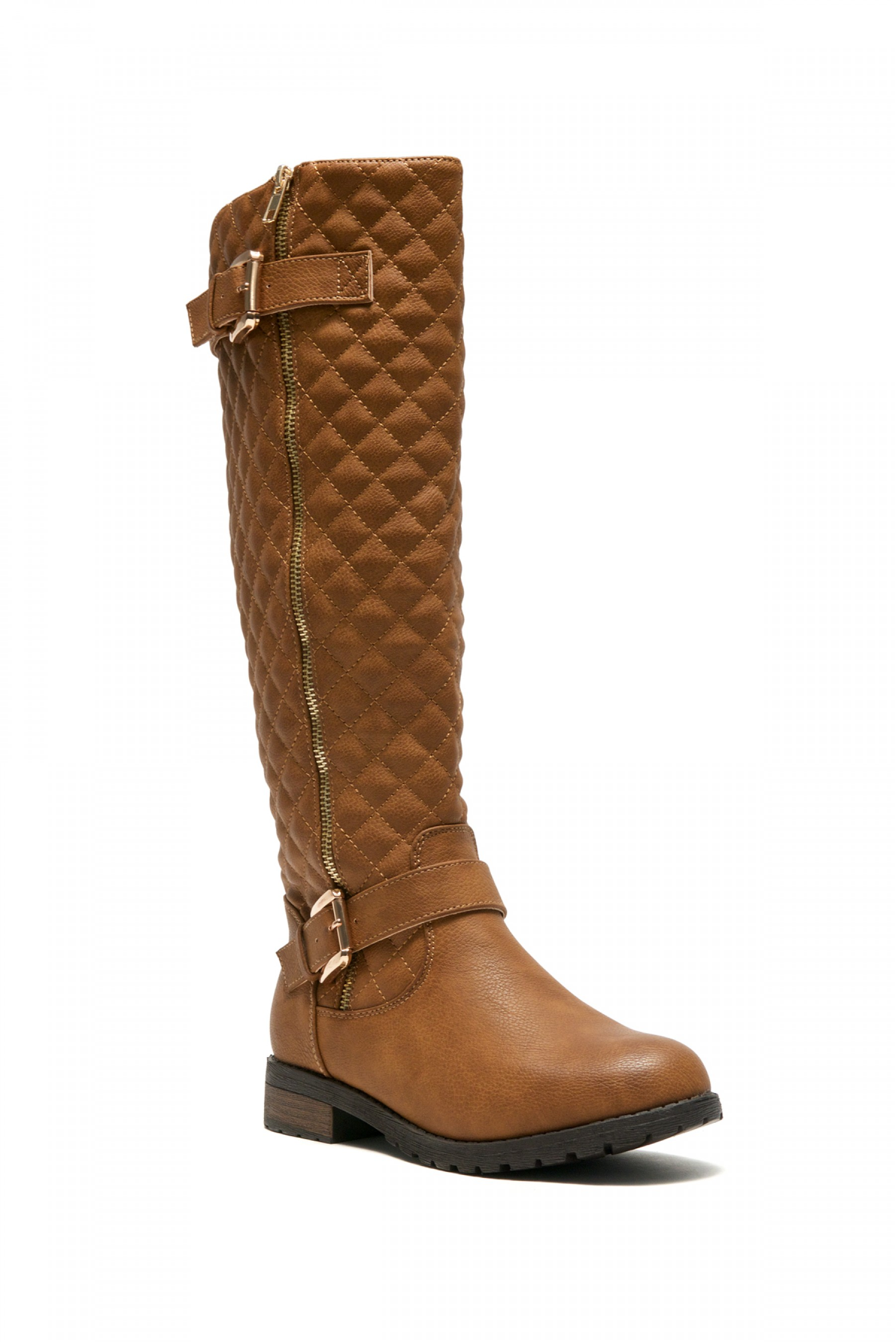 Women's Tan Lorreenn-Hi Women's Quilted, Zipper, Double Buckles Accent, Lug sole,Riding Knee-hi Boots