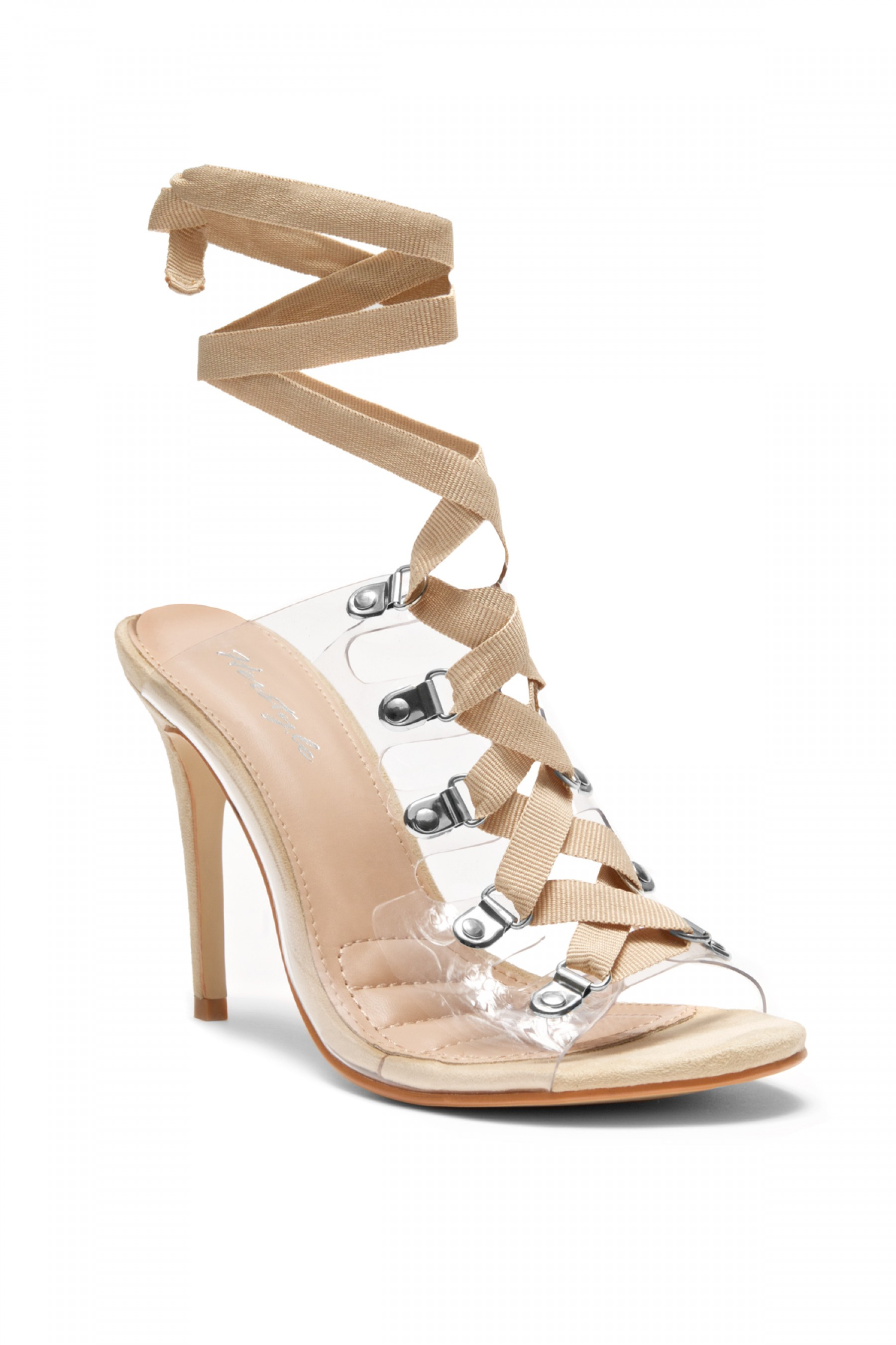 HerStyle Louisa stiletto heel, front lace-up, Lucite details (Clear Nude)