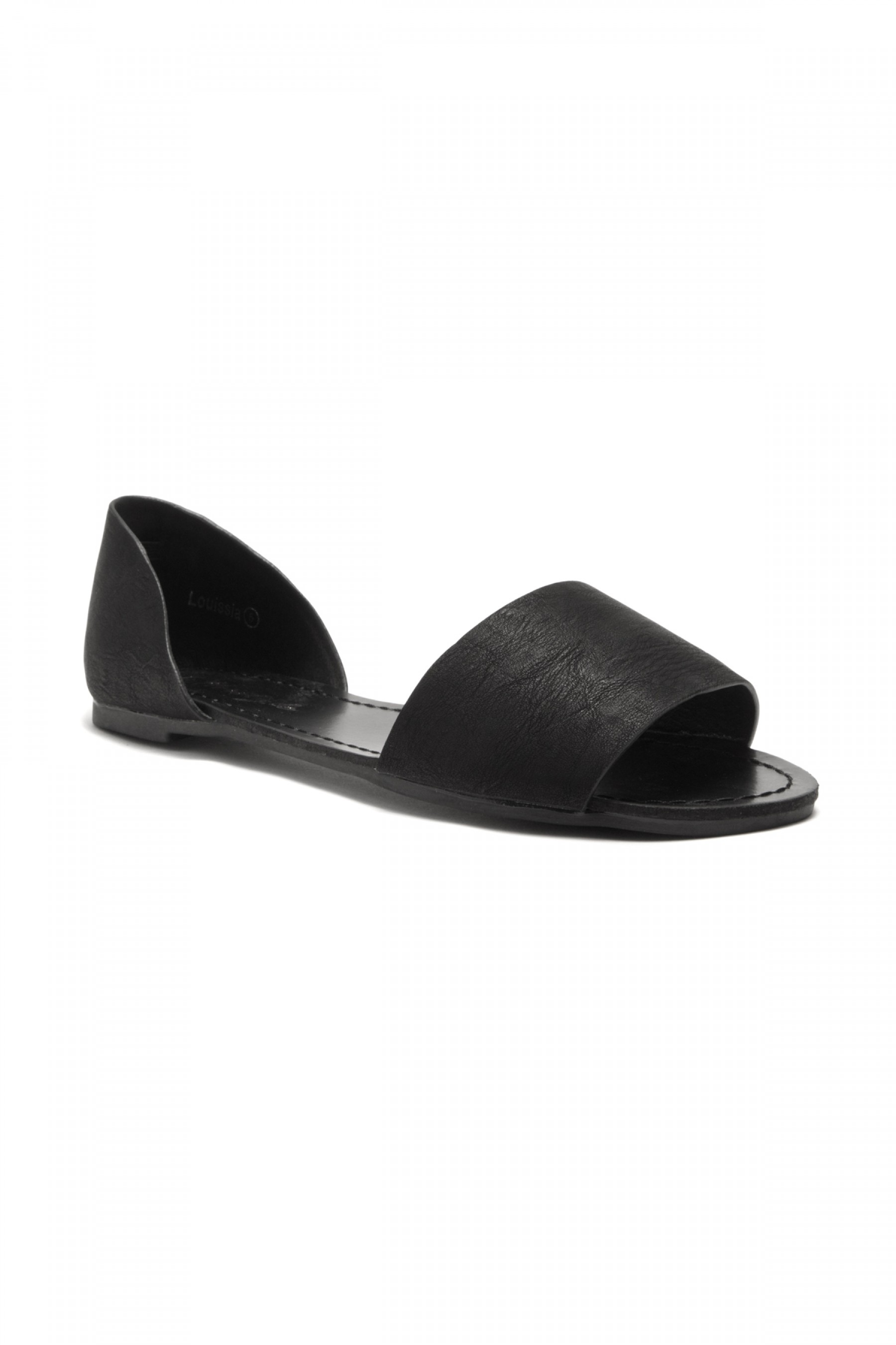 Women's Black Manmade Louissia Flat Sandal with Strap