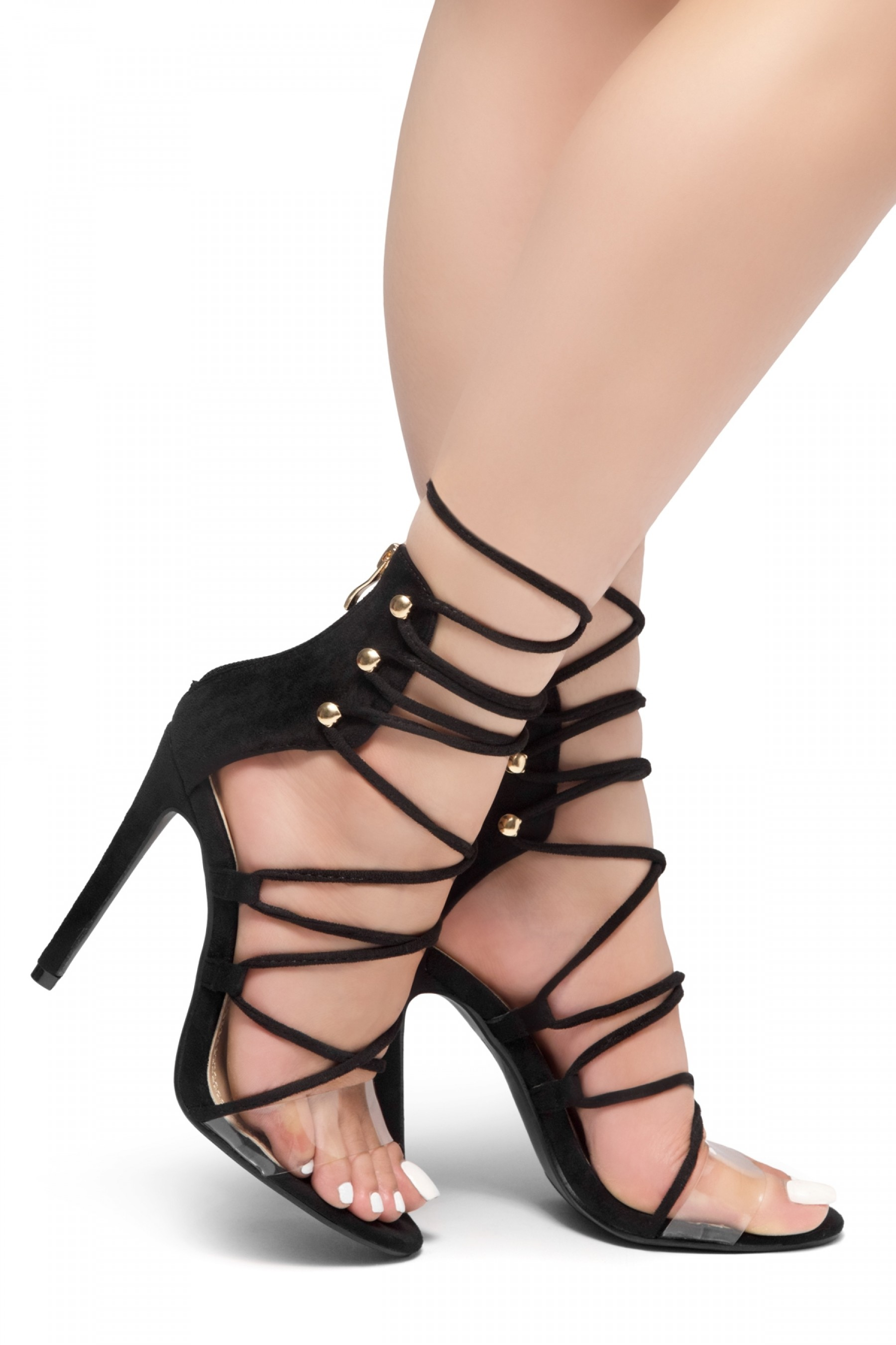 HerStyle LOVELY LADY-Stiletto heel, front lace-up, back zipper sandals (Black)
