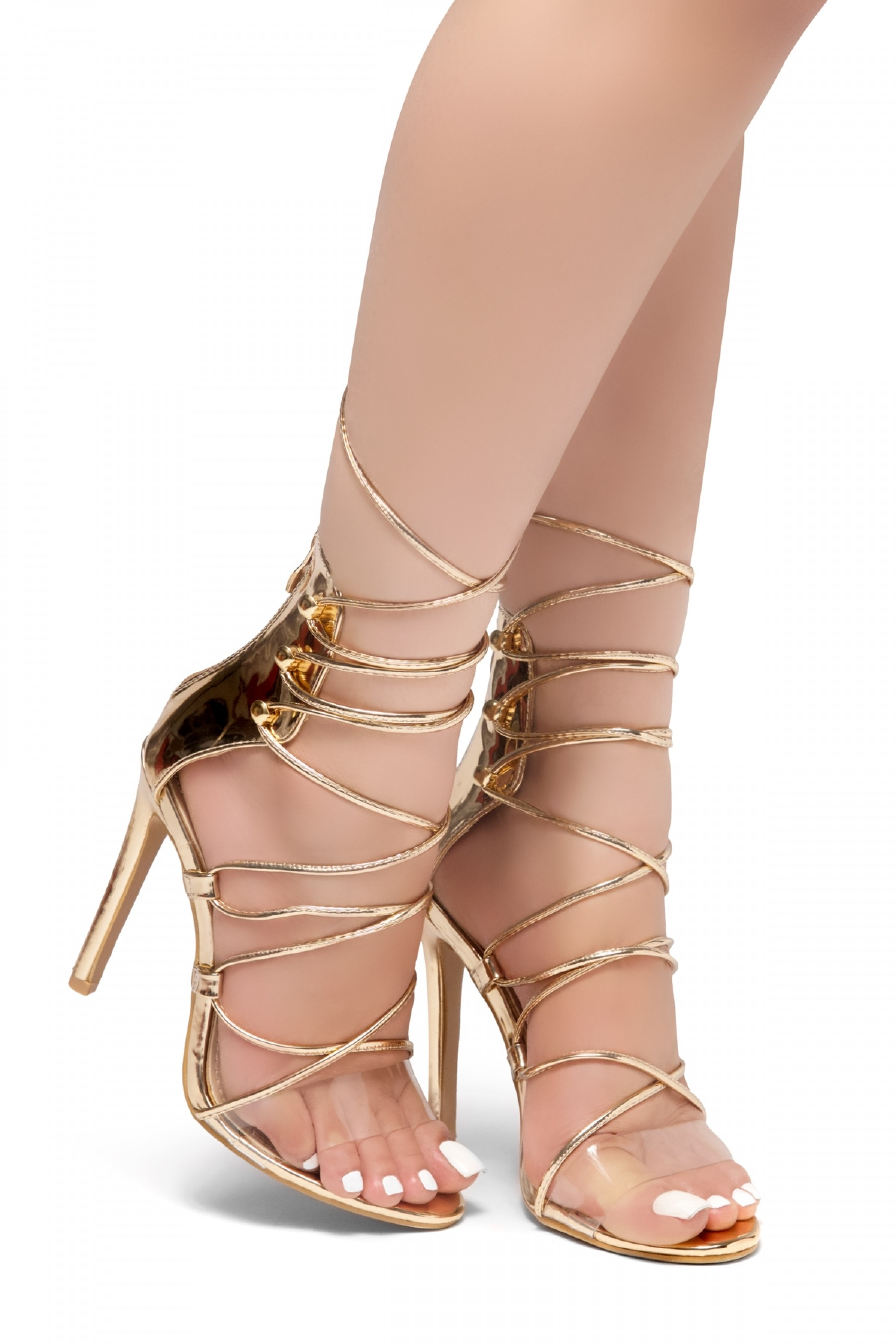 HerStyle LOVELY LADY-Stiletto heel, front lace-up, back zipper sandals (RoseGold)