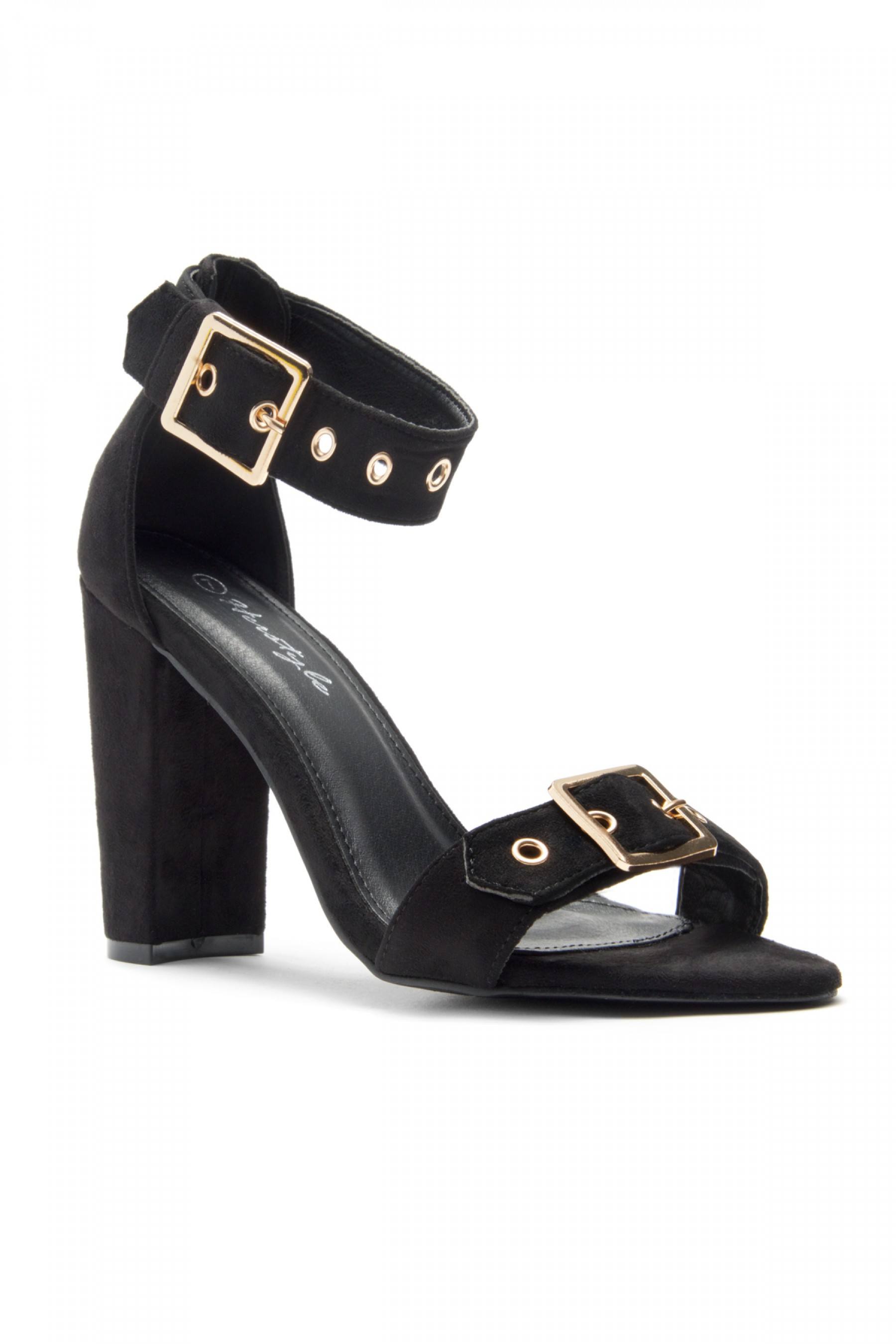 HerStyle Loyal Suede Ankle Strap, Buckled, Open Toe, Chunky Heel (Black)