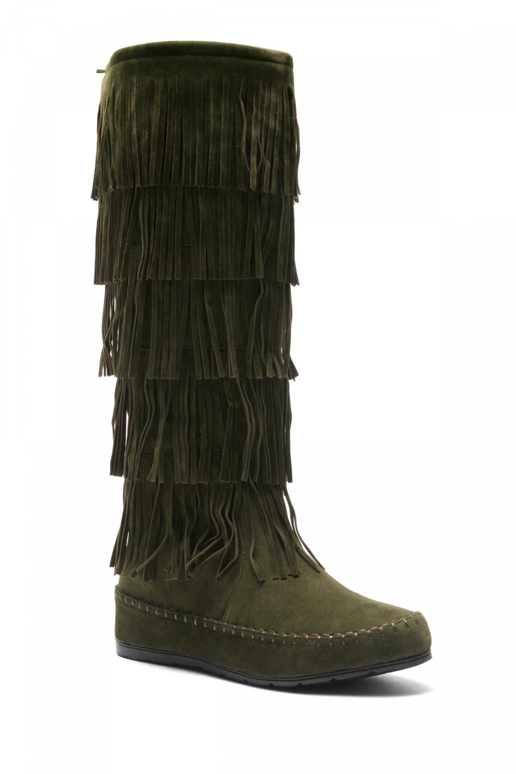 Women's Olive Maddyyee Faux Suede Knee High Fringed five-layer Moccasin Boots