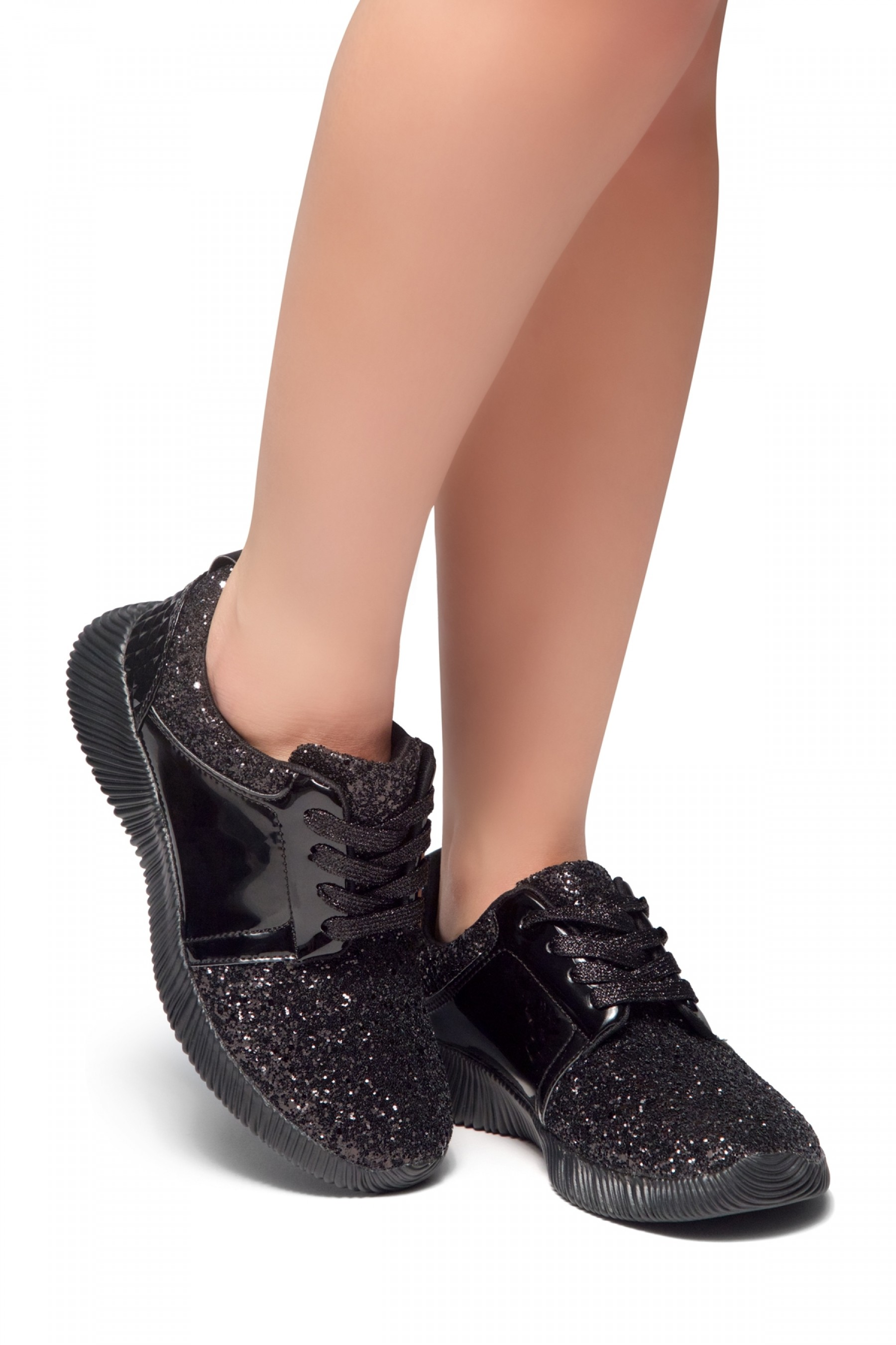 HerStyle MAGOR KICK-Glitter sneaker with lace upper (Black)