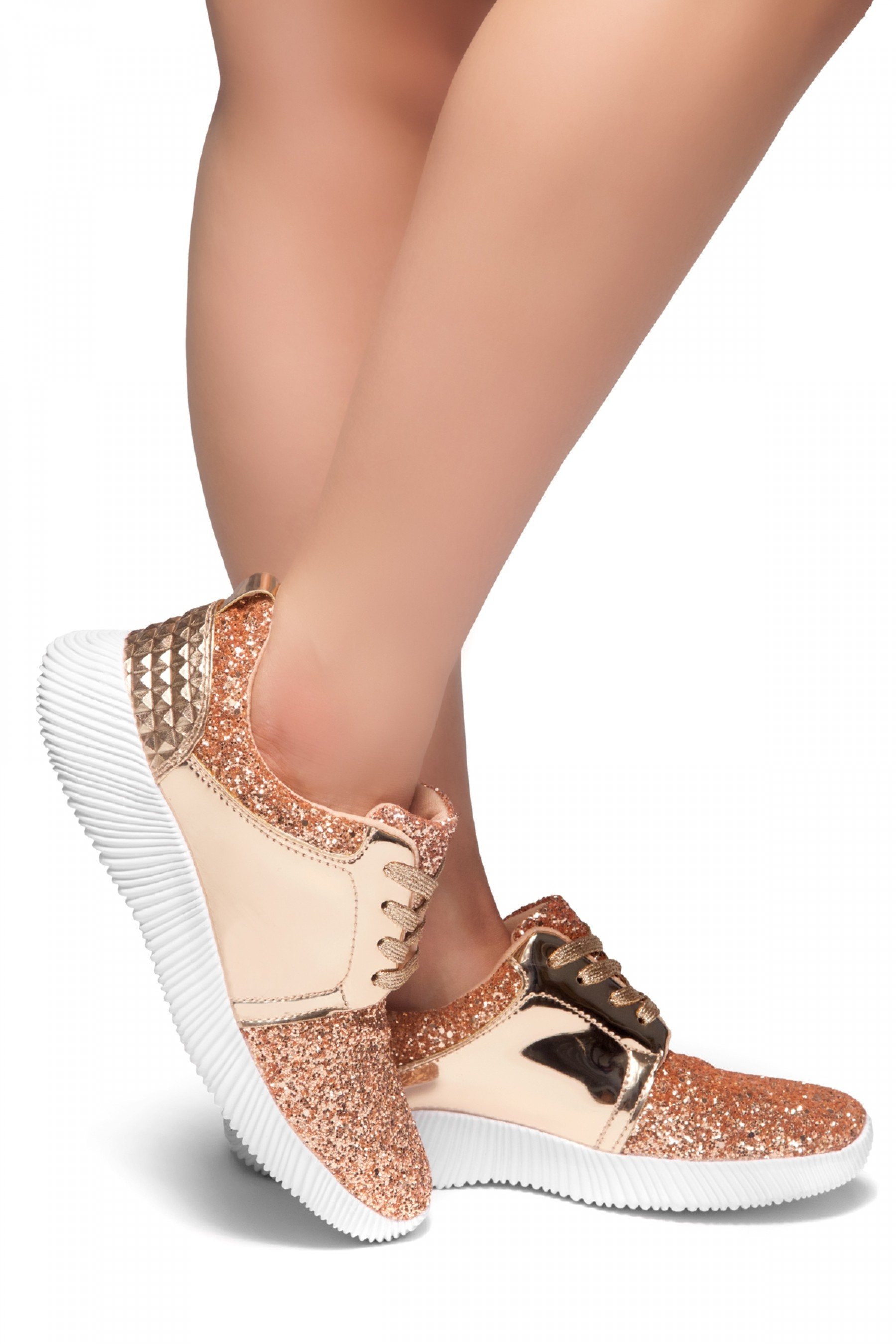 HerStyle MAGOR KICK-Glitter sneaker with lace upper (RoseGold)