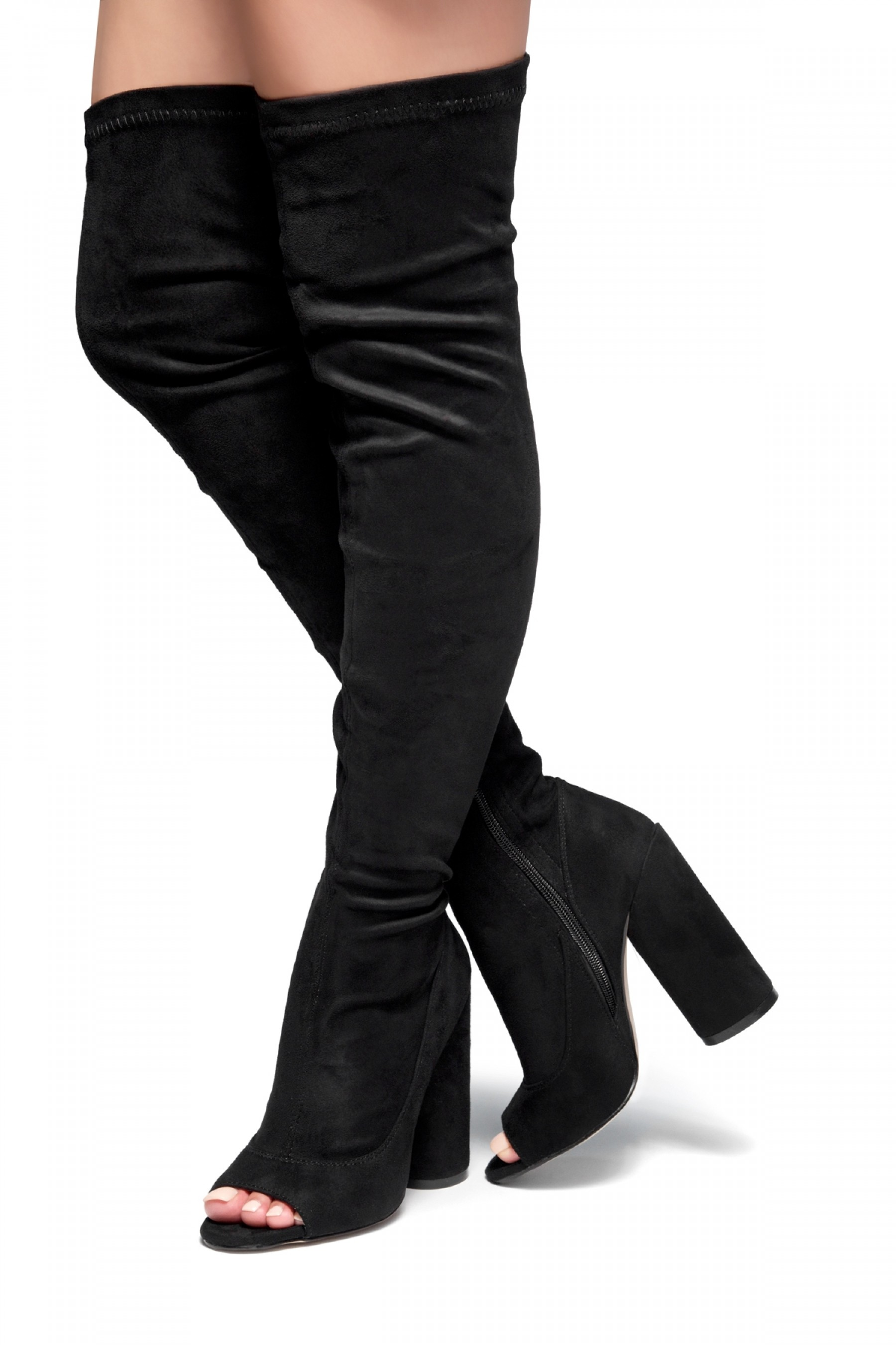 HerStyle Malorey Sock fit peep toe boots, thigh high boots, and round heel (Black)