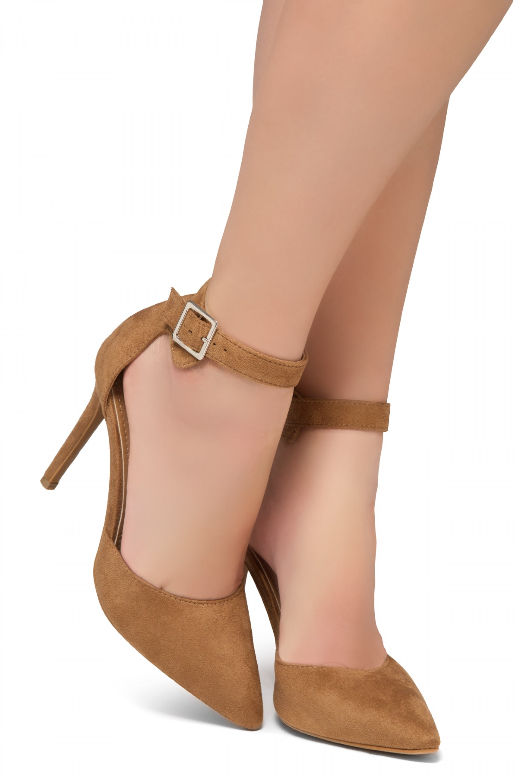 Shoe Land Marneena-2-Ankle Strap Squared Buckle Close Pointed Toe Stiletto Heel Pumps (Taupe)