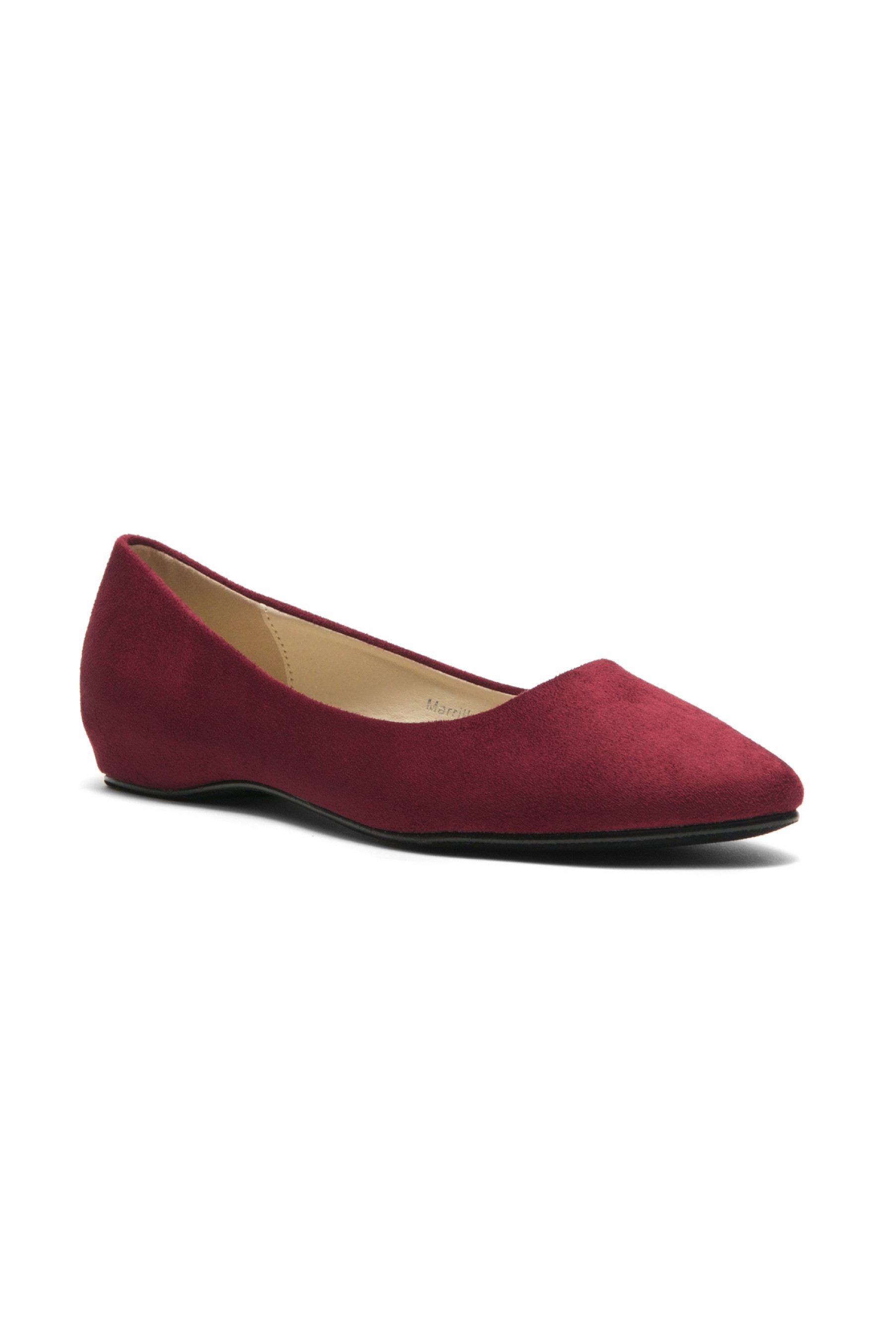 Women's Burgundy Marrillee Sueded Pump Flat with Lightly Pointed Toe