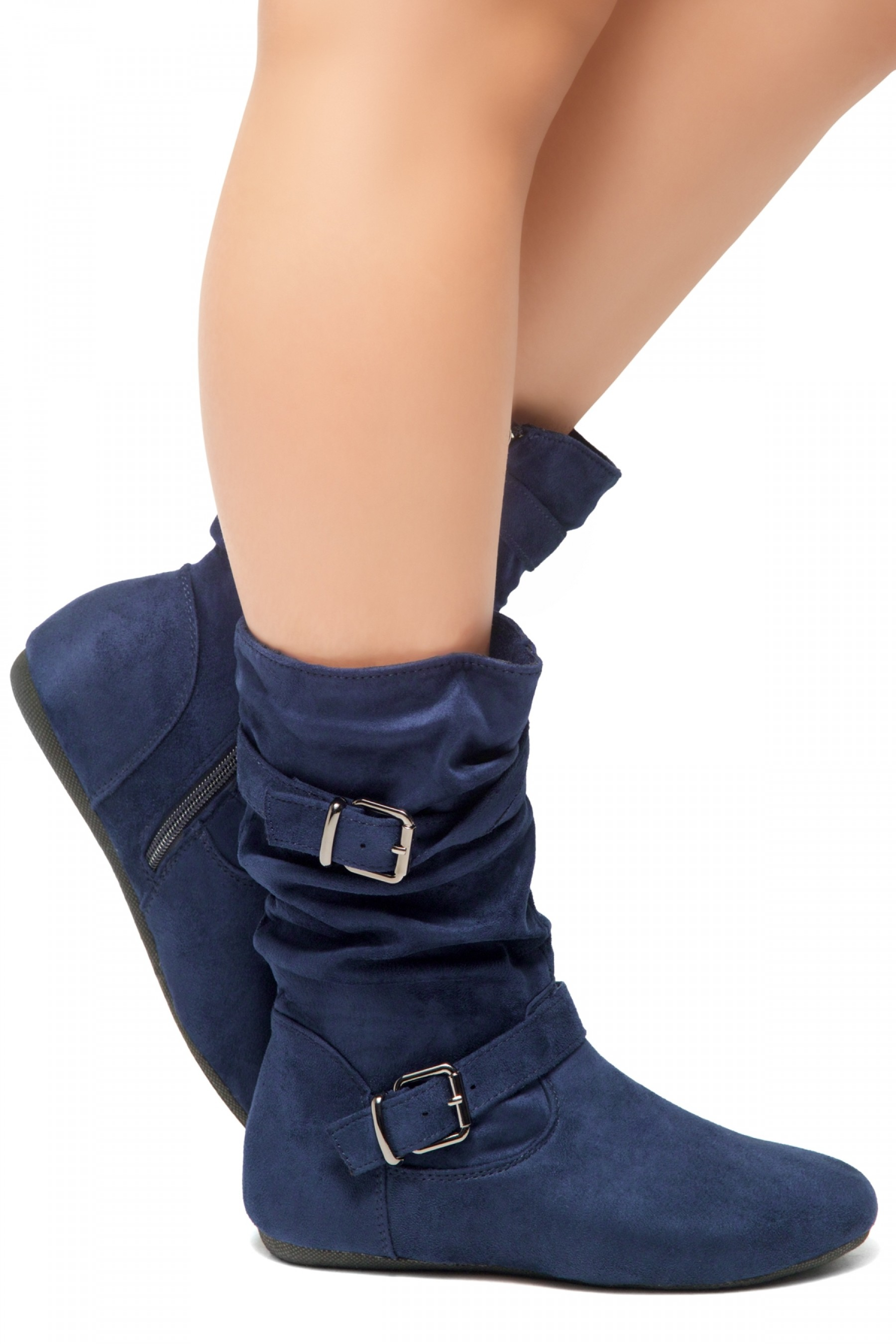 HerStyle Marvel-Round toe, stacked flat heel, buckle detail (Navy)