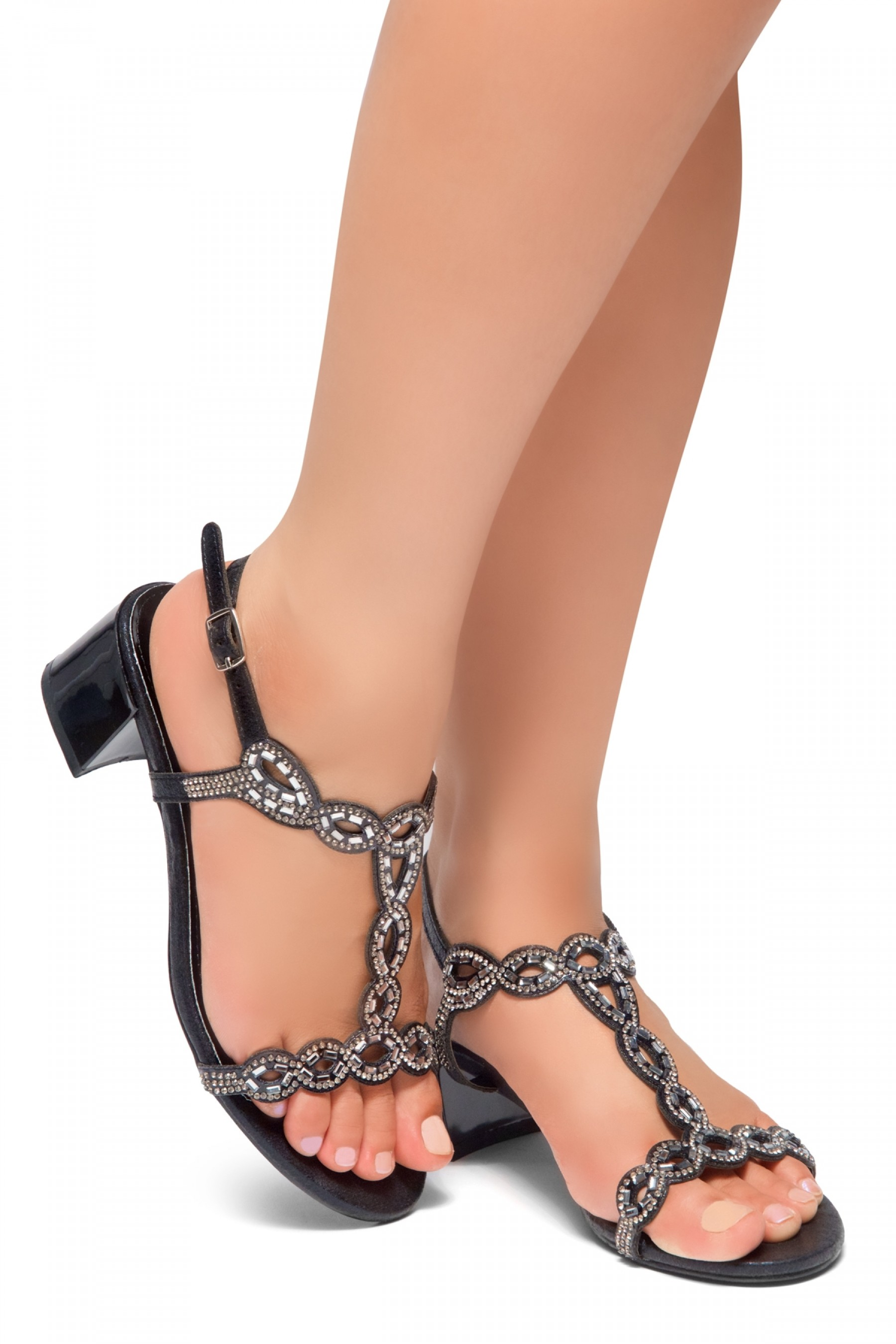 HerStyle Mastermind- Jeweled Embellishments, Low Block Heels, Open Toe, Open Back Sandals (Black)