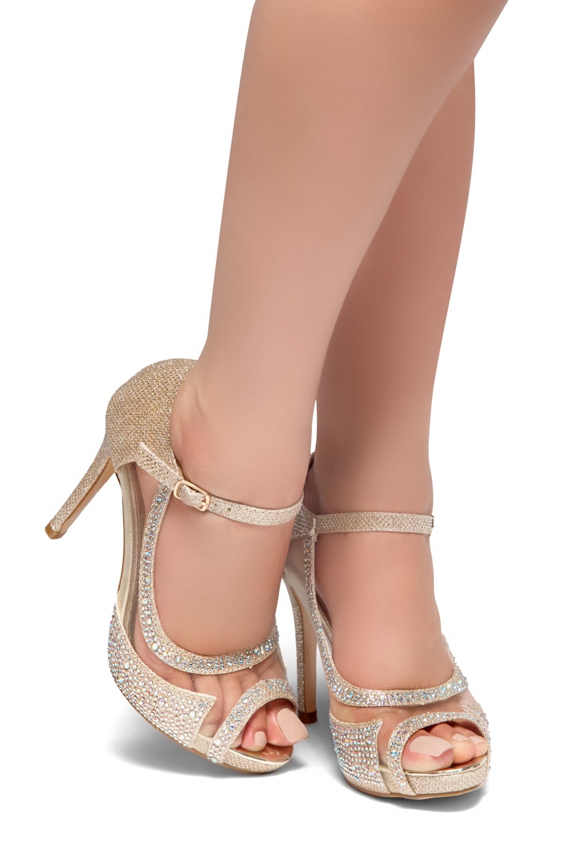 HerStyle MAY- Peep toe stiletto heel, jeweled embellishments pumps (Champagne)