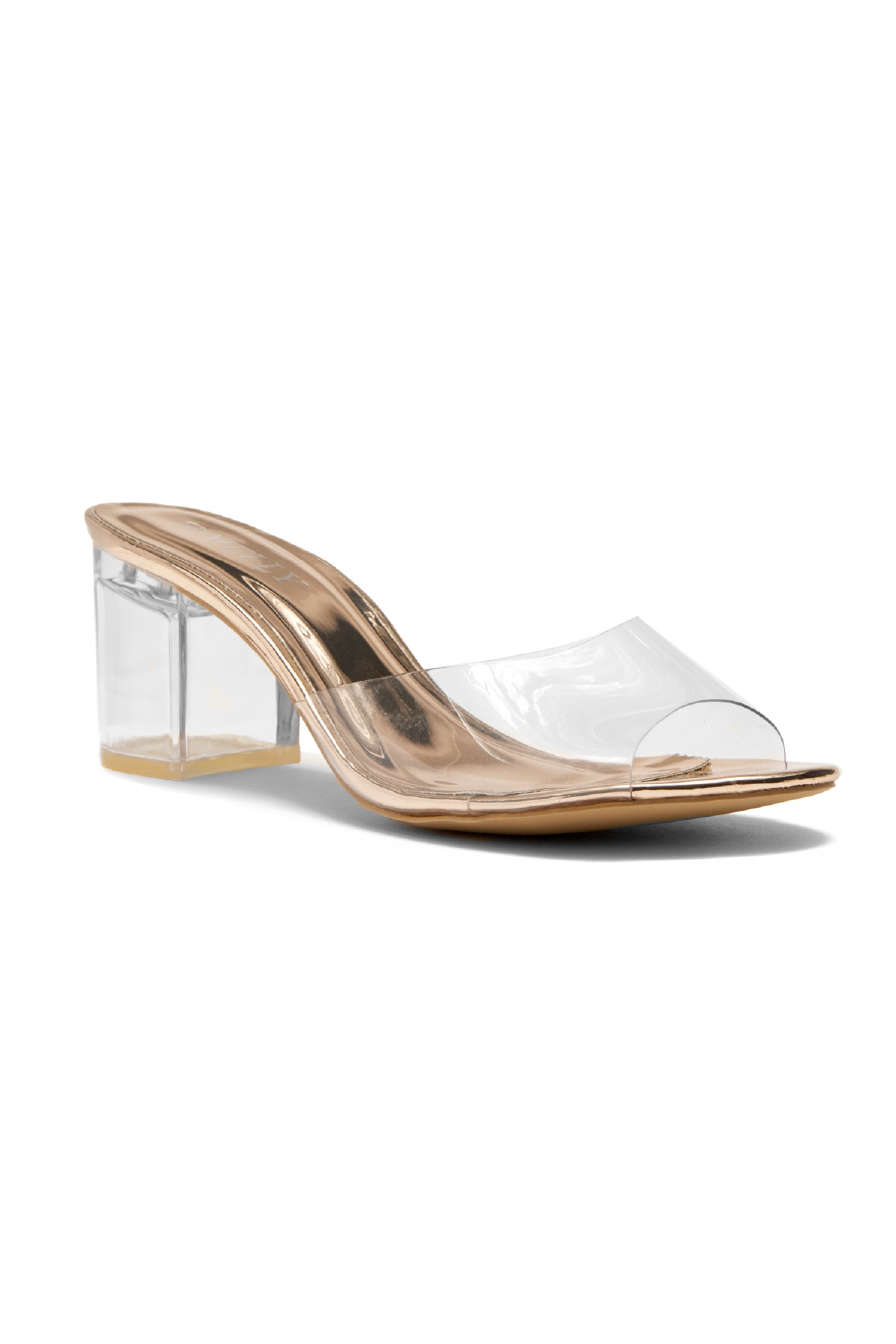f2129deaf814 HerStyle Mayylyn Lucite Chunky Perspex Heel (Clear Rose Gold)