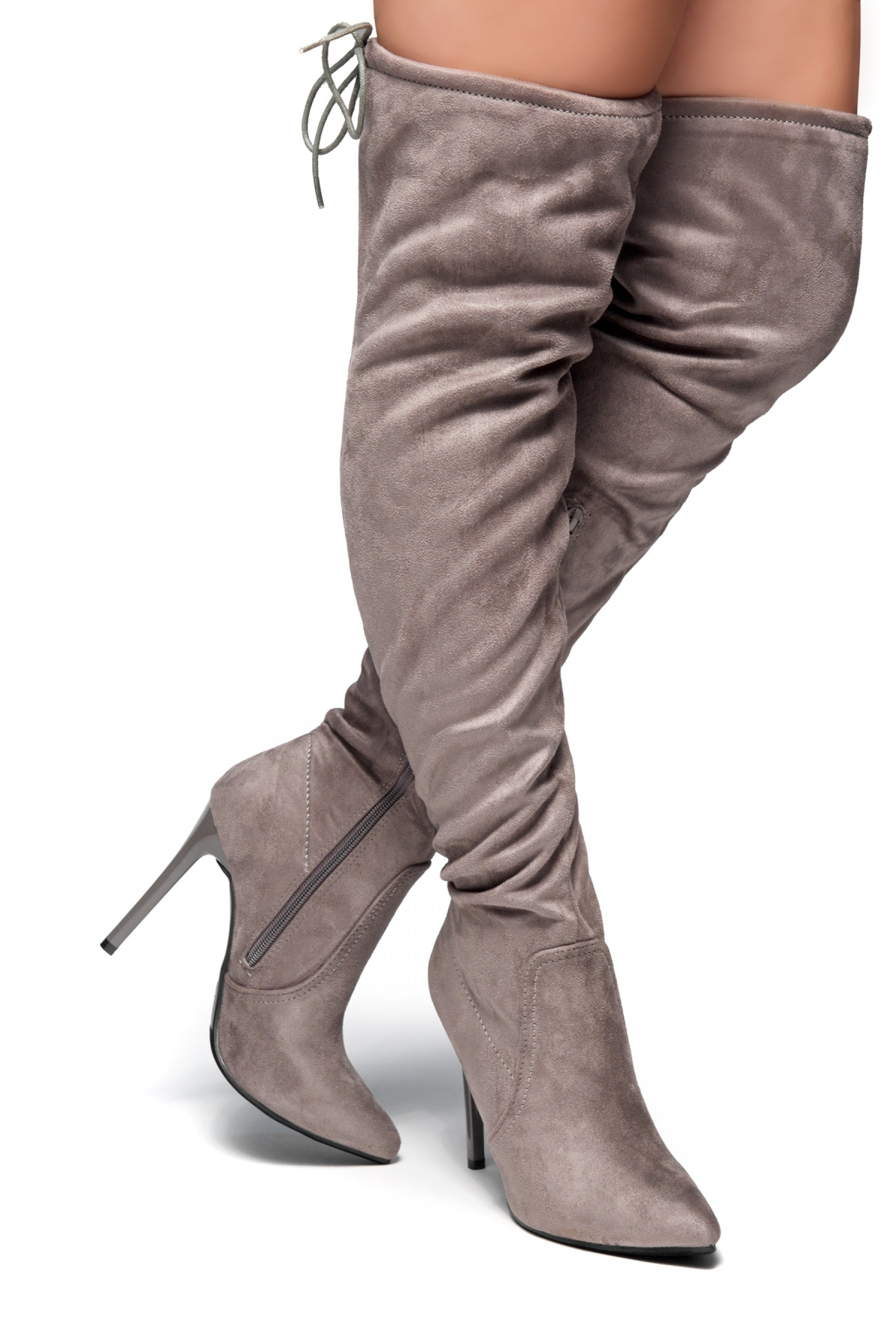 Women's Megann Faux Suede Over The Knee , thigh hi Pointy Toe Boots - Grey