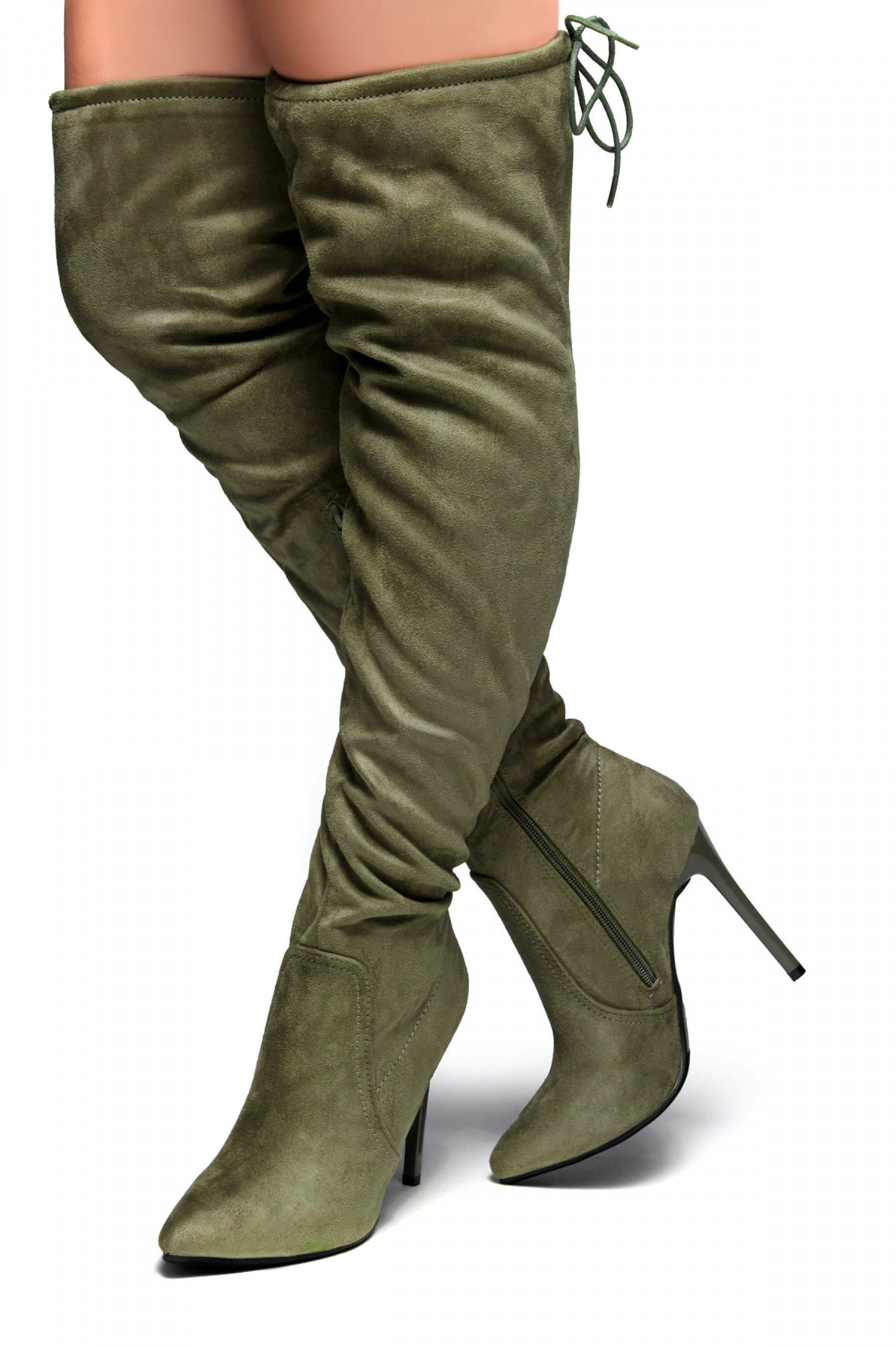 Women's Megann Faux Suede Over The Knee , thigh hi Pointy Toe Boots - Olive