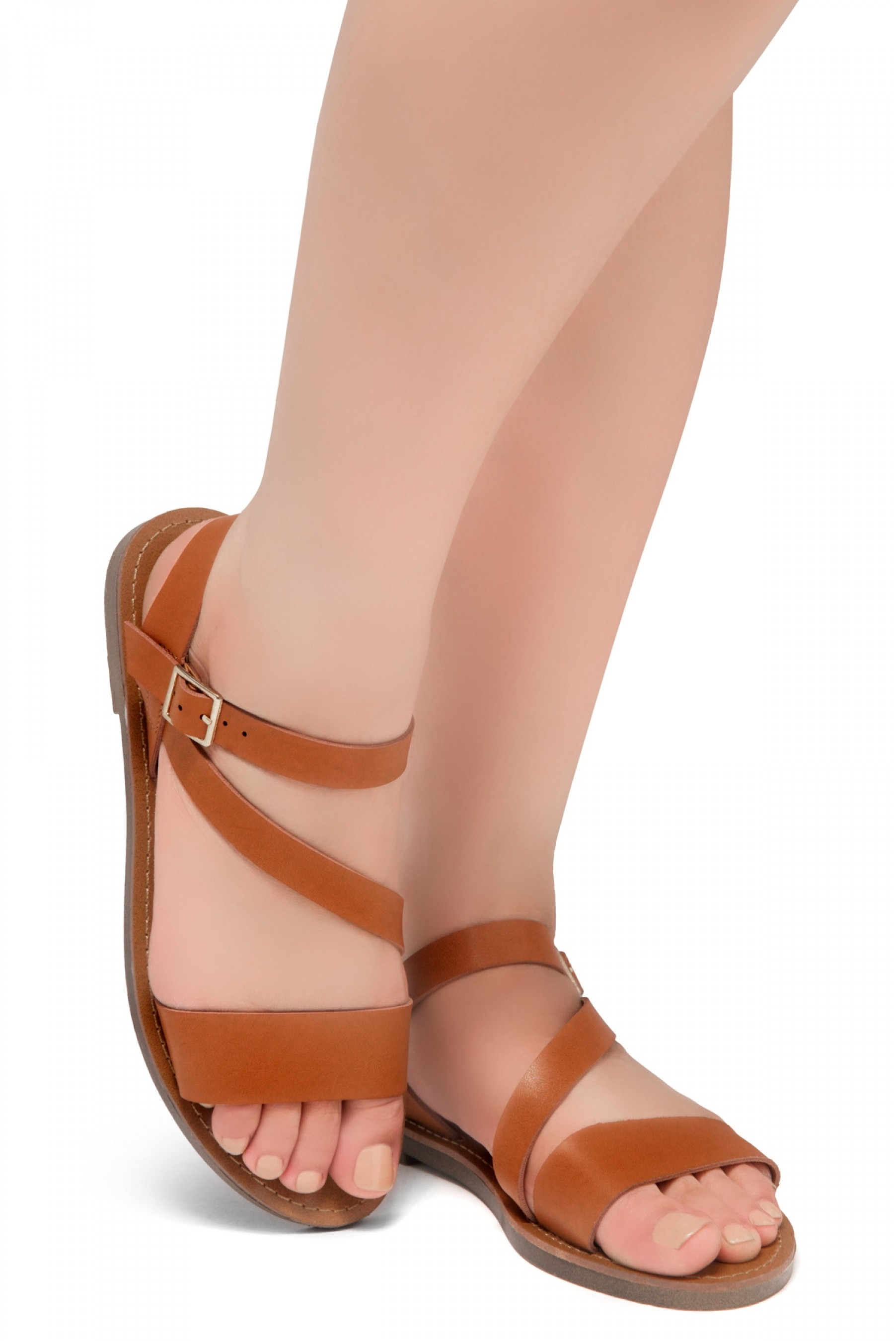 Shoe Land Marinna- Lightweight Flat Sandal with Faux Leather Straps Sandals (Cognac)