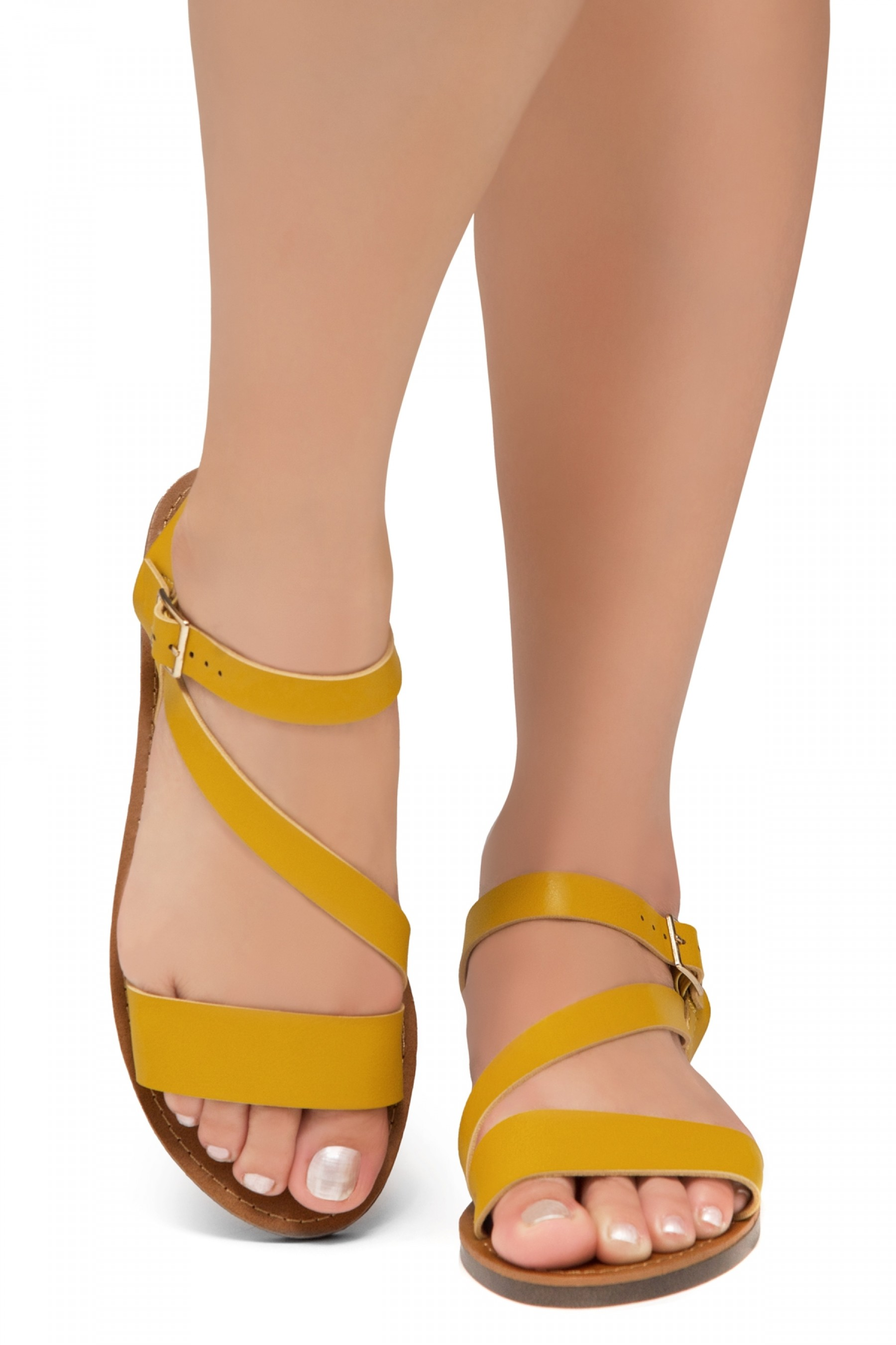 Shoe Land Merina- Lightweight Flat Sandal with Faux Leather Straps Sandals (Mustard)