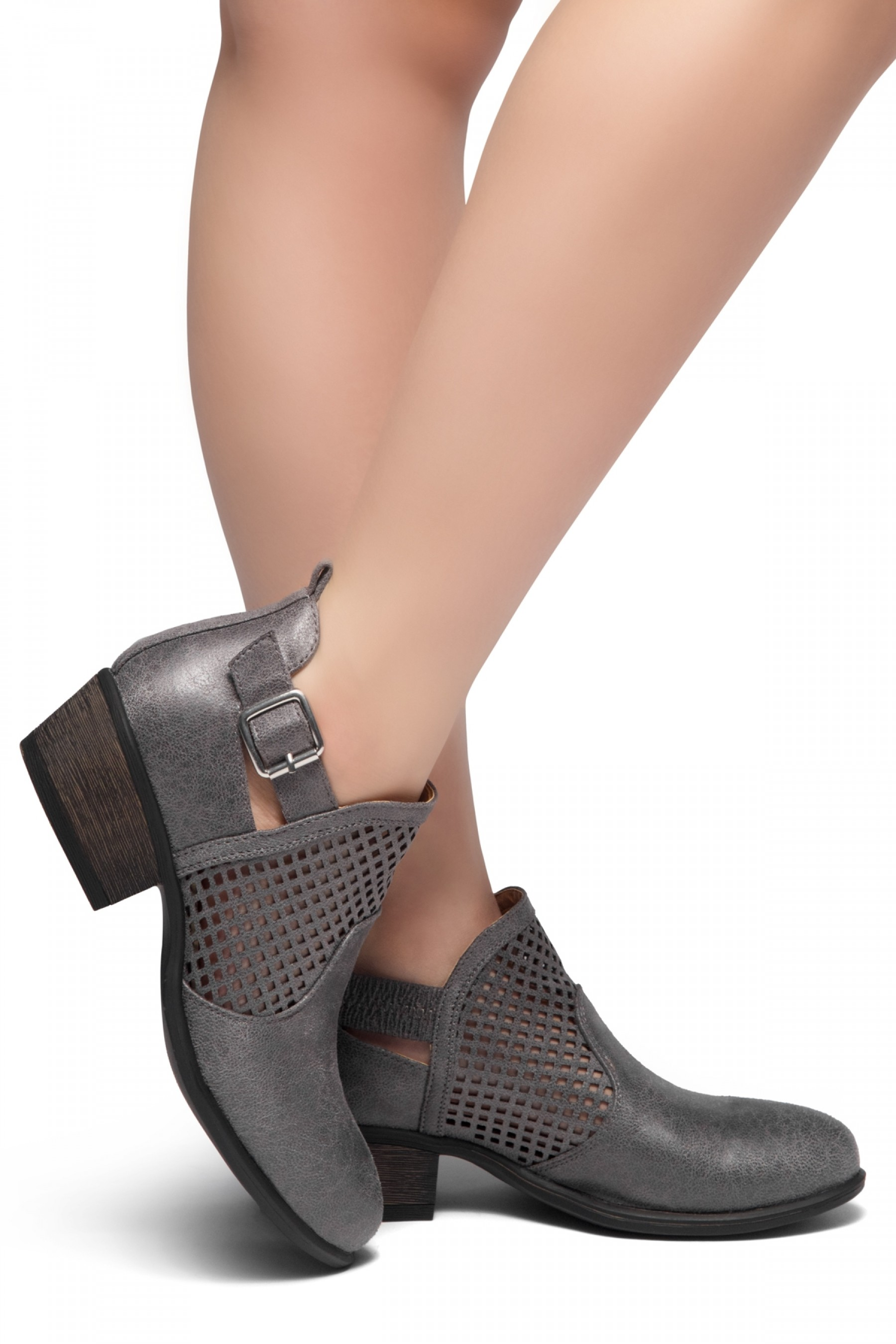 HerStyle Milton-Stacked Low Heel Almond Toe Buckled Decorative Booties (Grey)