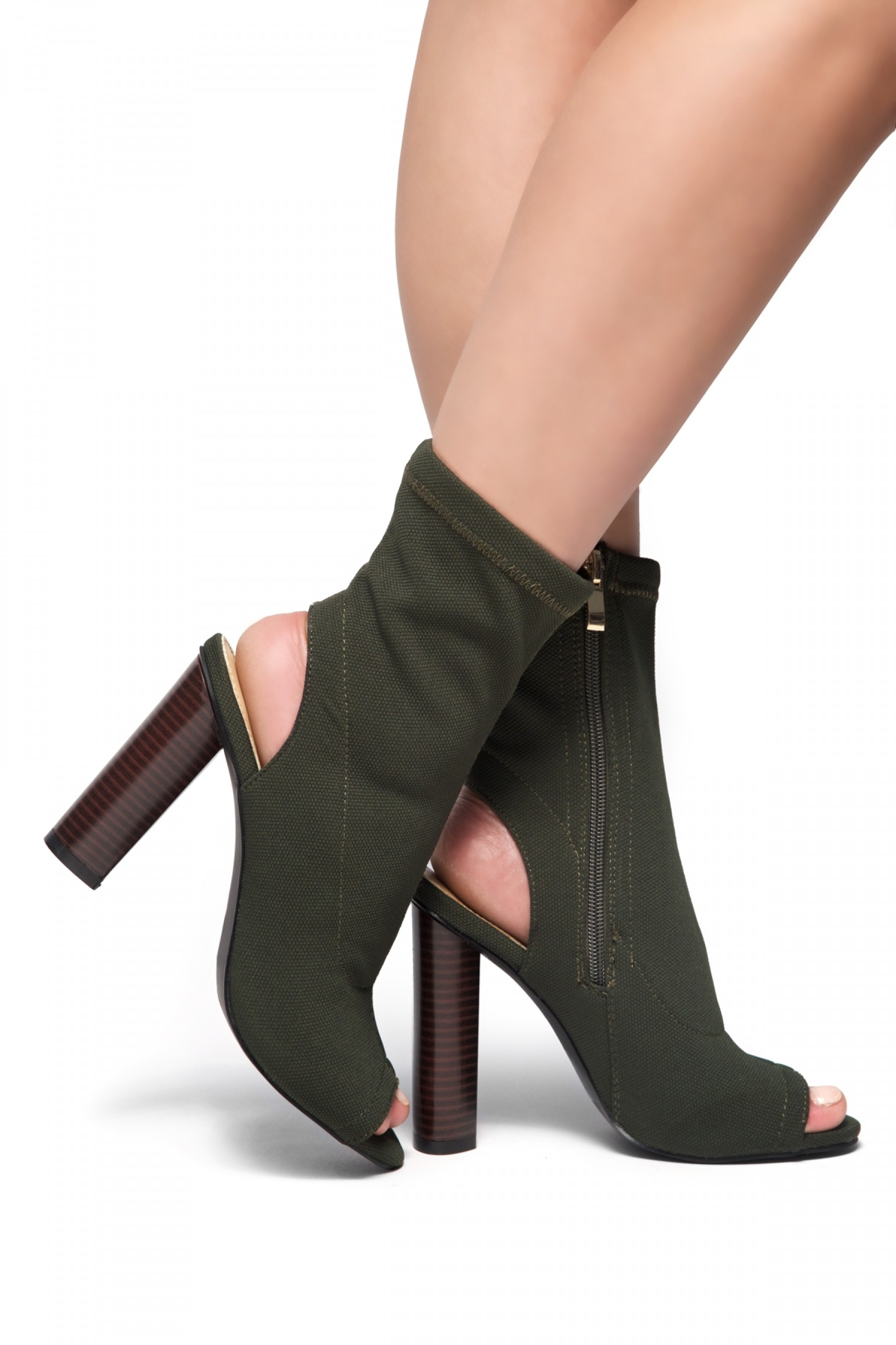 HerStyle Mingglee Peep Toe Cutout Chunky Heeled Booties - Olive