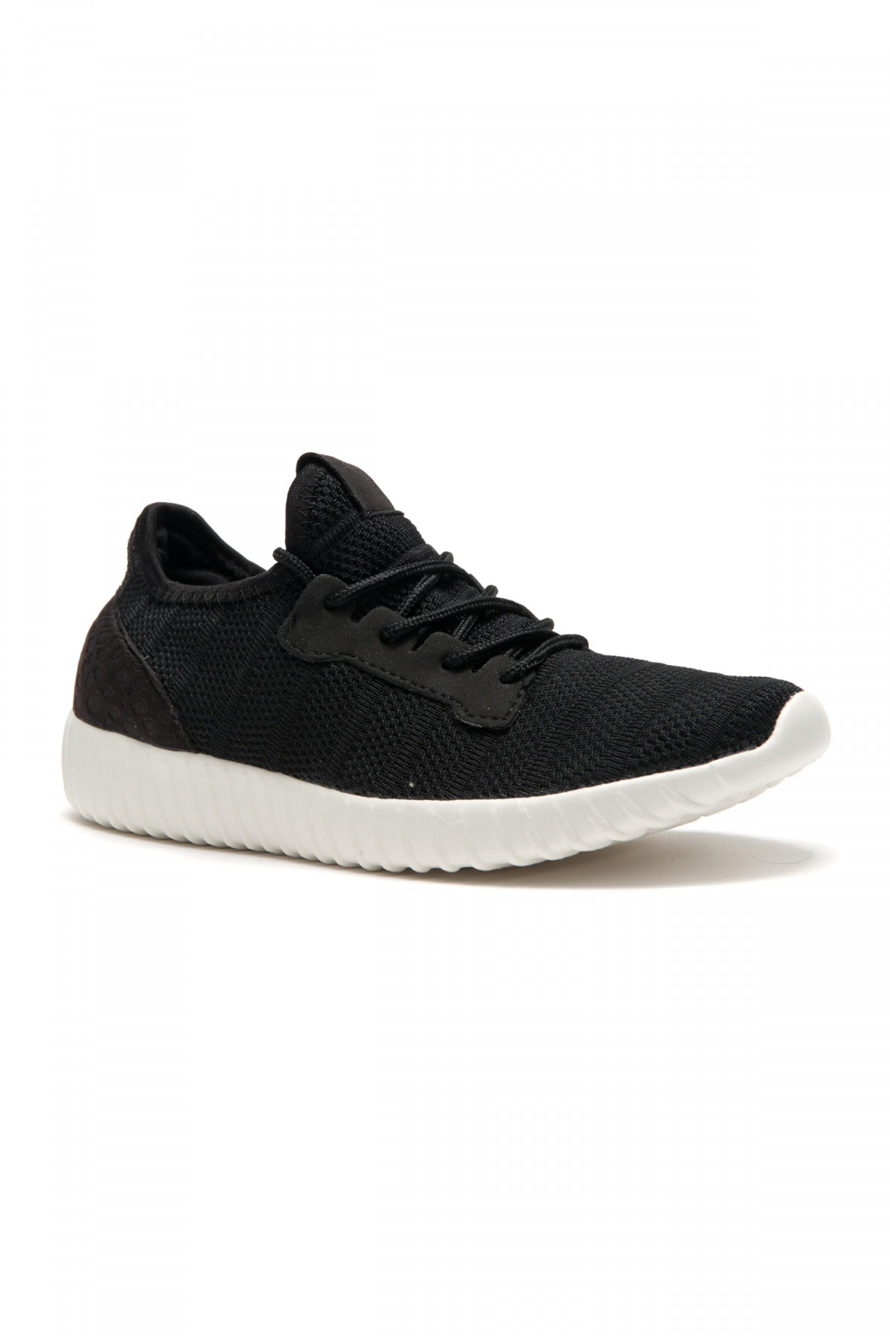 HerStyle Women's Manmade Mirinia Spec Flyknit Contrast Sneakers -Black