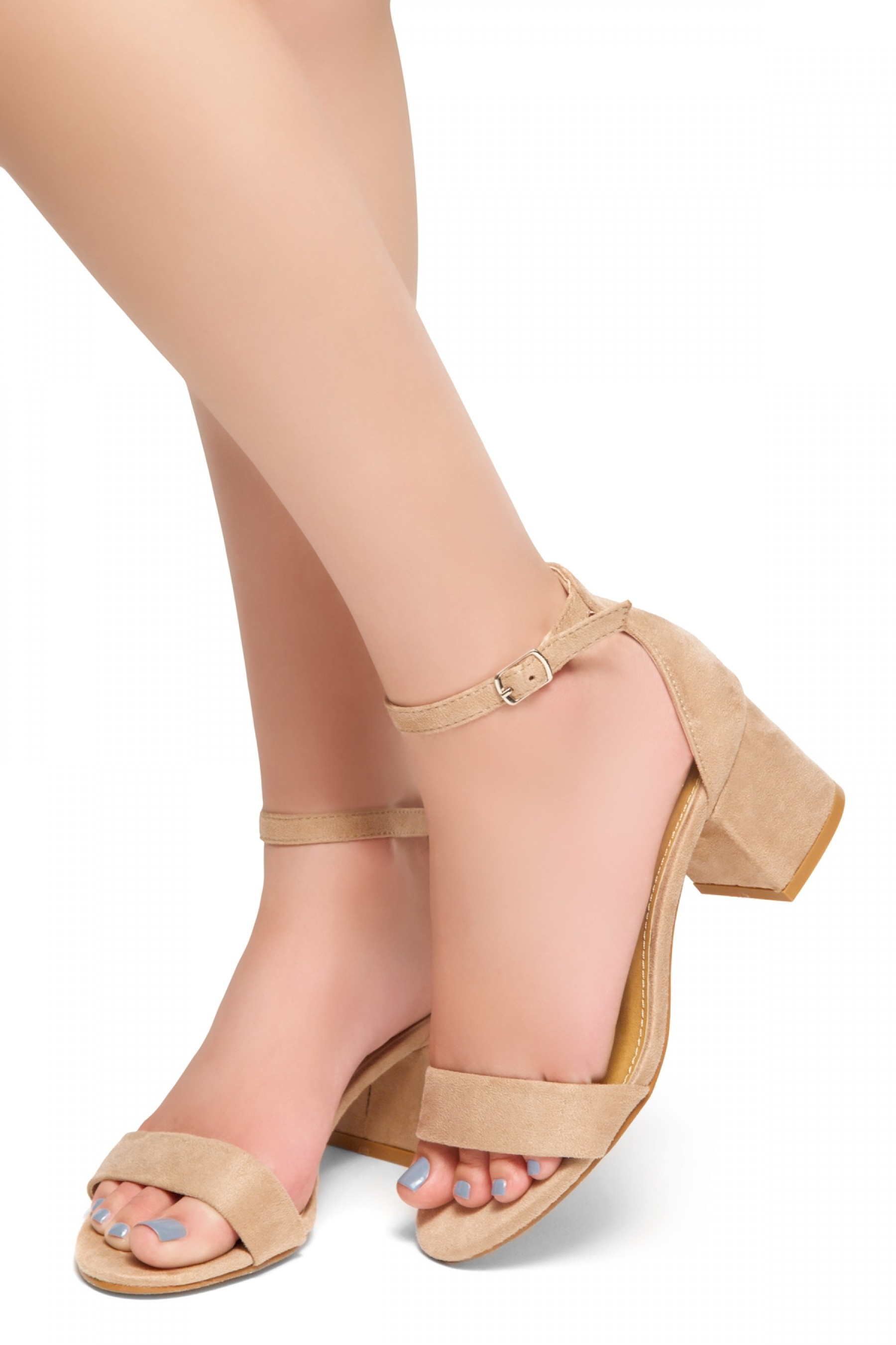 HerStyle Mischa - an open toe, block heel,ankle strap with an adjustable buckle (Blush)