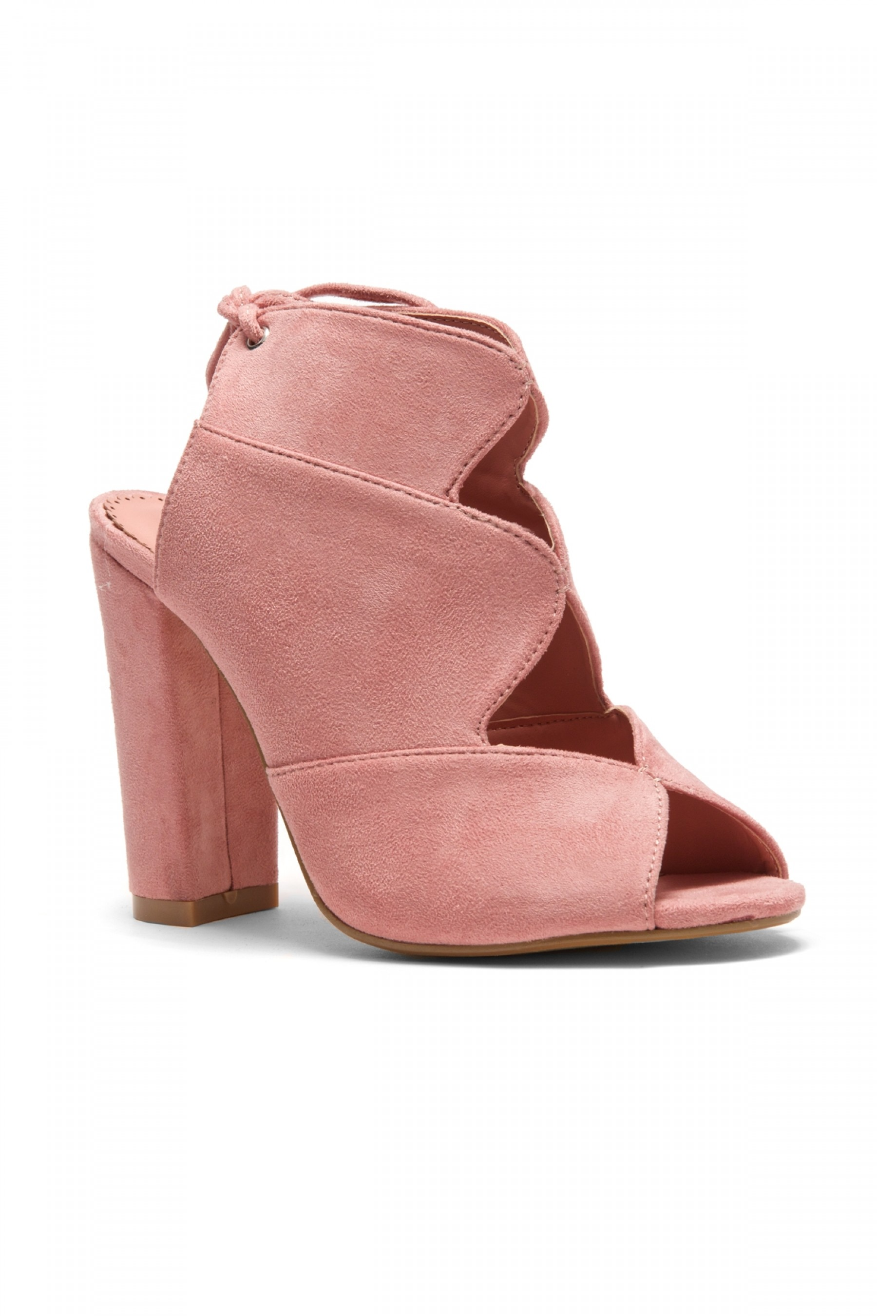 HerStyle Mocha Laser Cut, Chunky Heeled Sandals (Mauve)