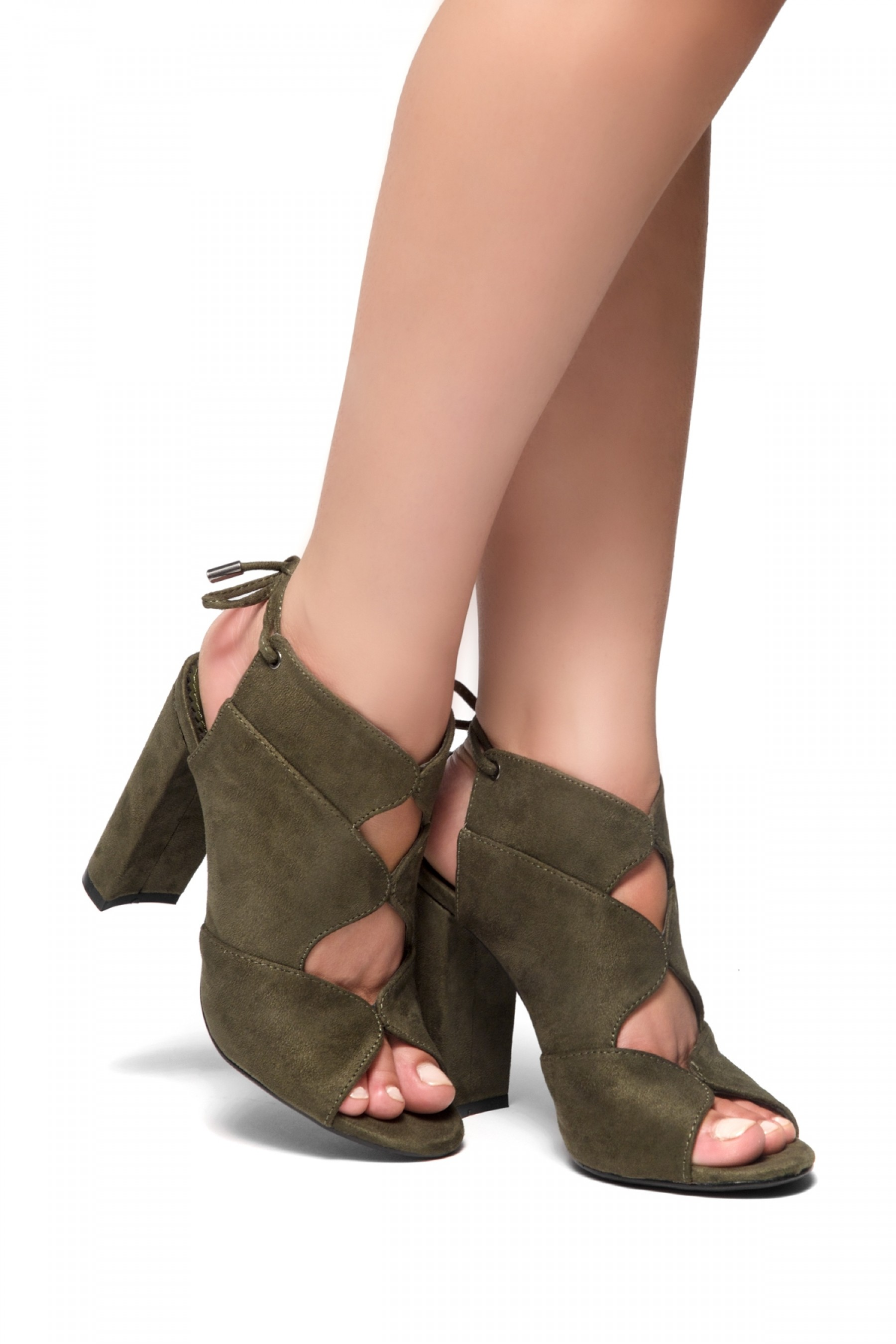 b55d38e1ee4a7 HerStyle Mocha Laser Cut, Chunky Heeled Sandals (Olive)