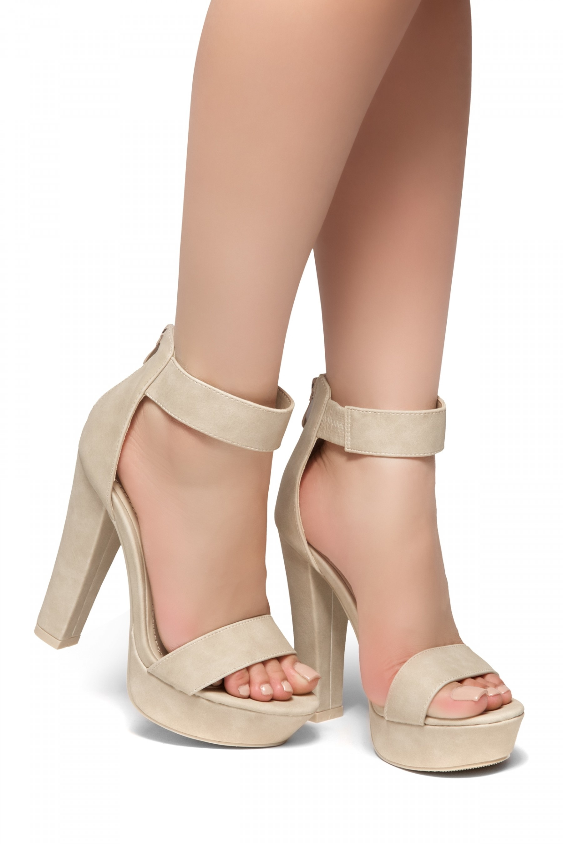 HerStyle Cutesy-Ankle Strap Chunky Platform Heel (Nude)