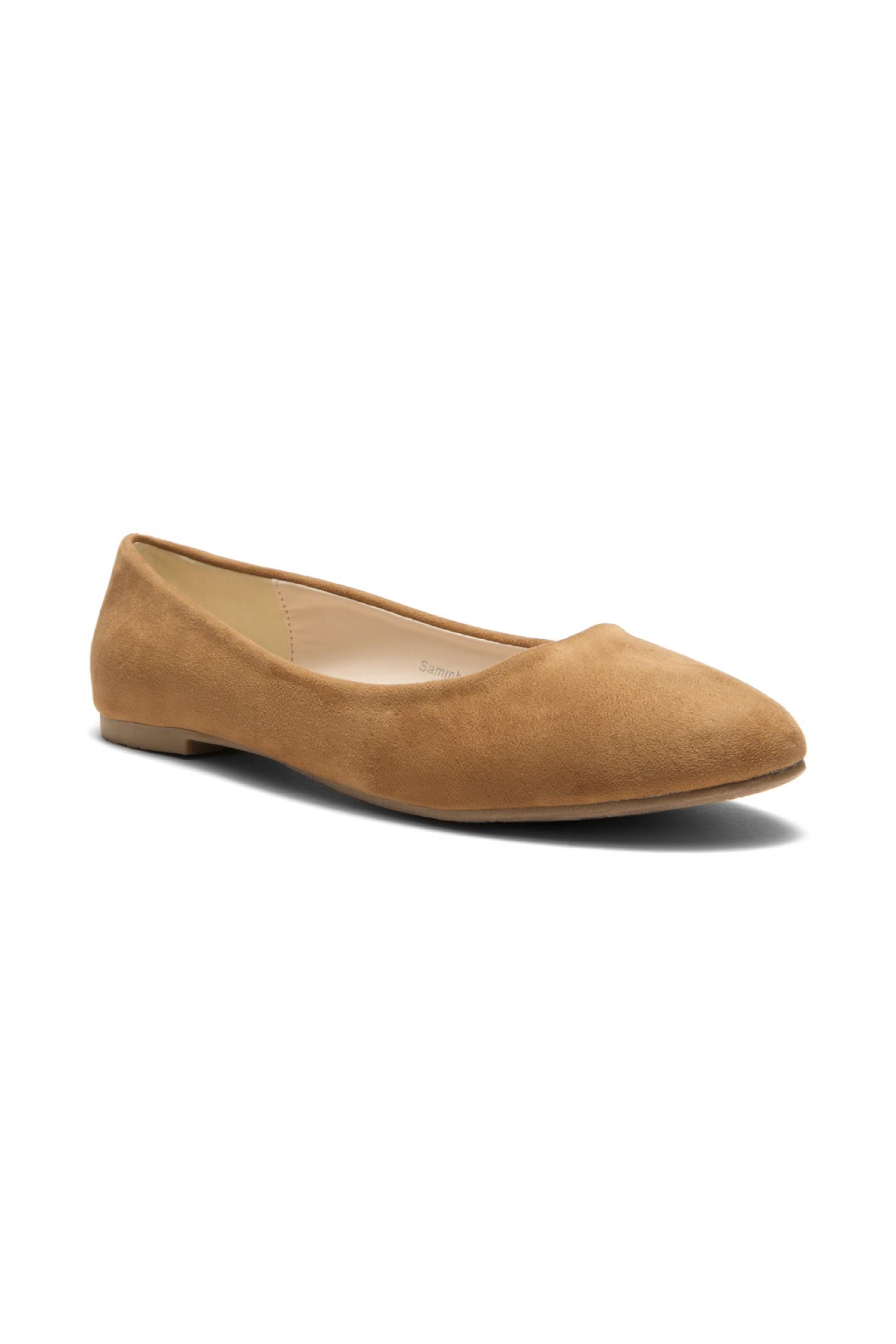 Herstyle Women's Manmade  N-Samma Faux Suede Round Toe Ballet Flat (Cognac)