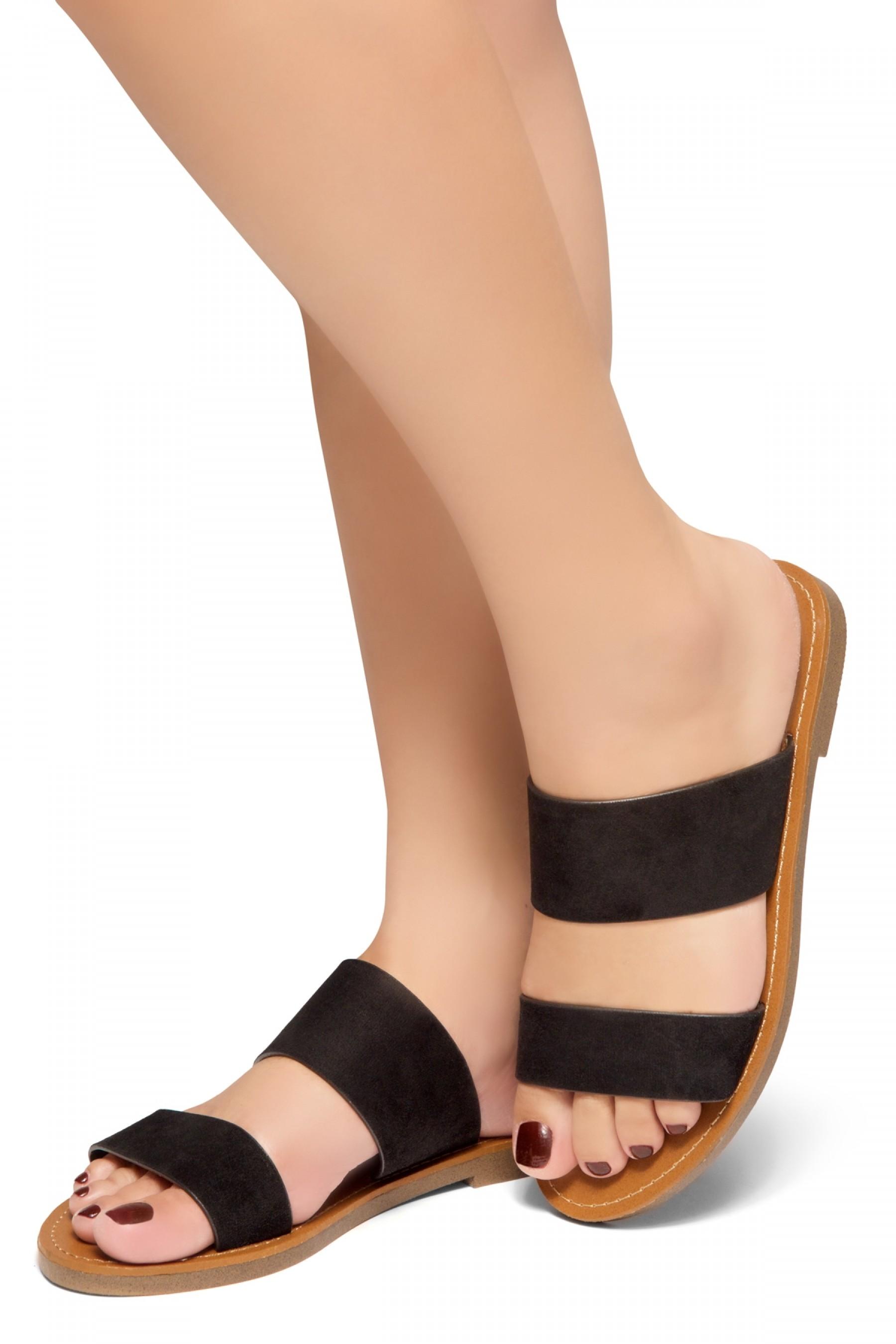 HerStyle Native- Open Toe Double Strap Vamp Open Back Easy Slide Sandals (Black)