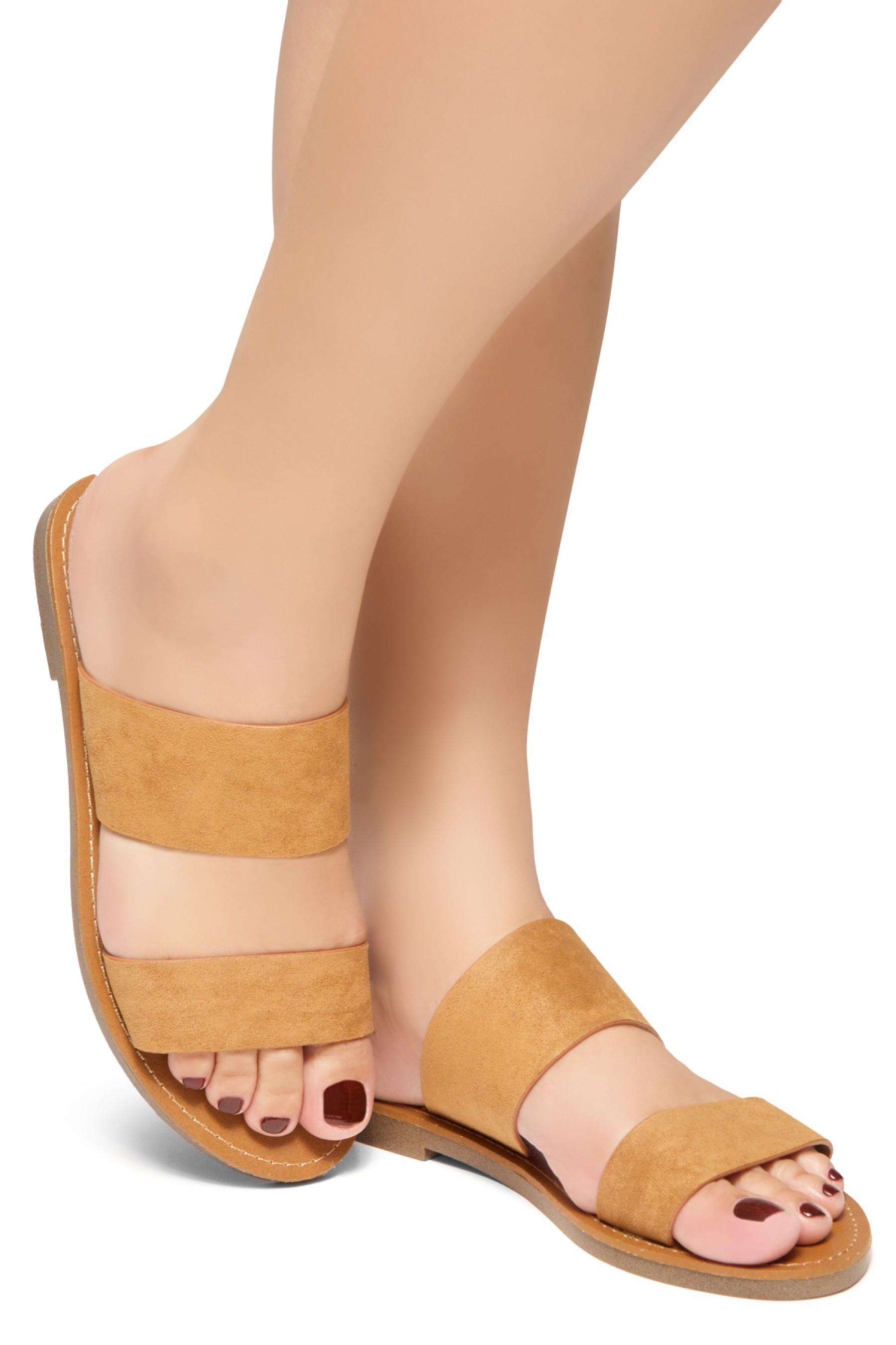 HerStyle Native- Open Toe Double Strap Vamp Open Back Easy Slide Sandals (Cognac)