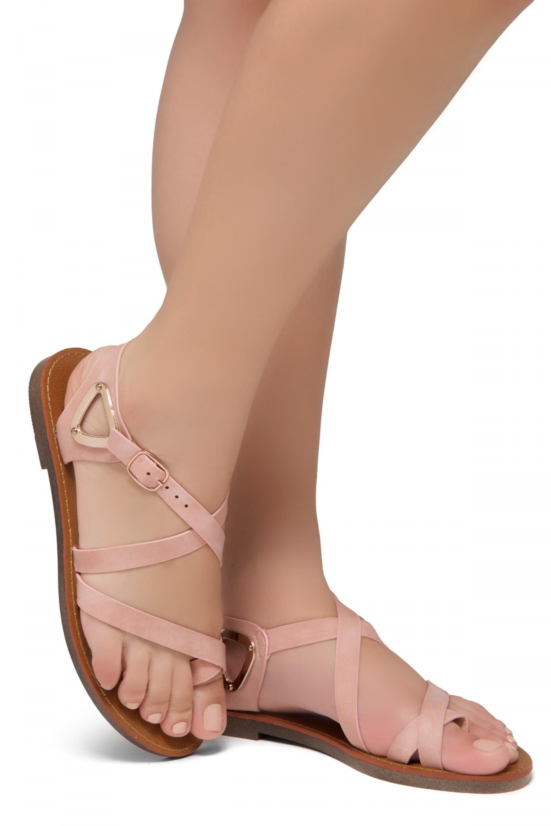 Shoe Land Needed-Women's Open Toe Flat Gladiator Sandals (Mauve)