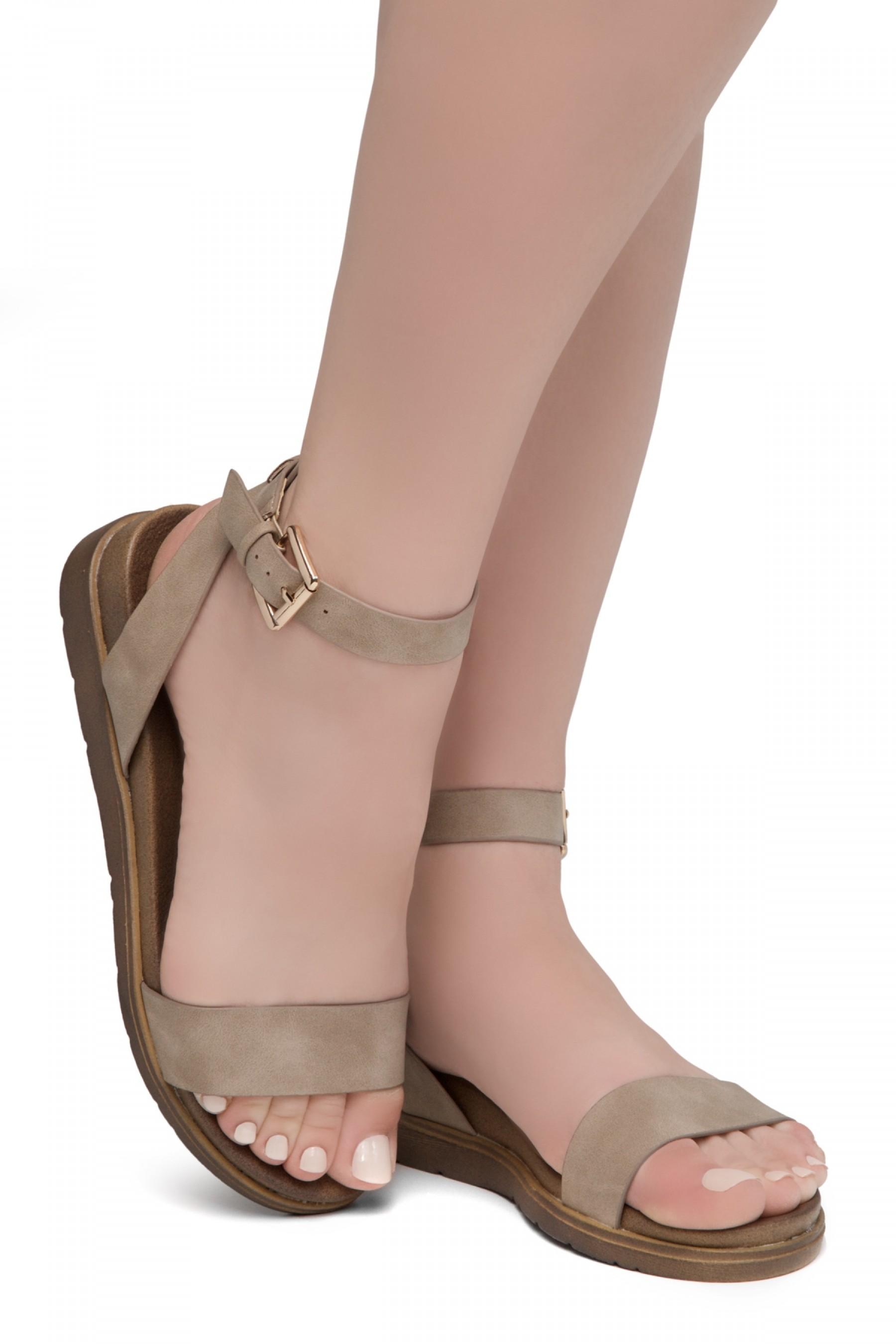 Shoe land Needed Me- Ankle Strap Flat Platform Sandal (Natural)