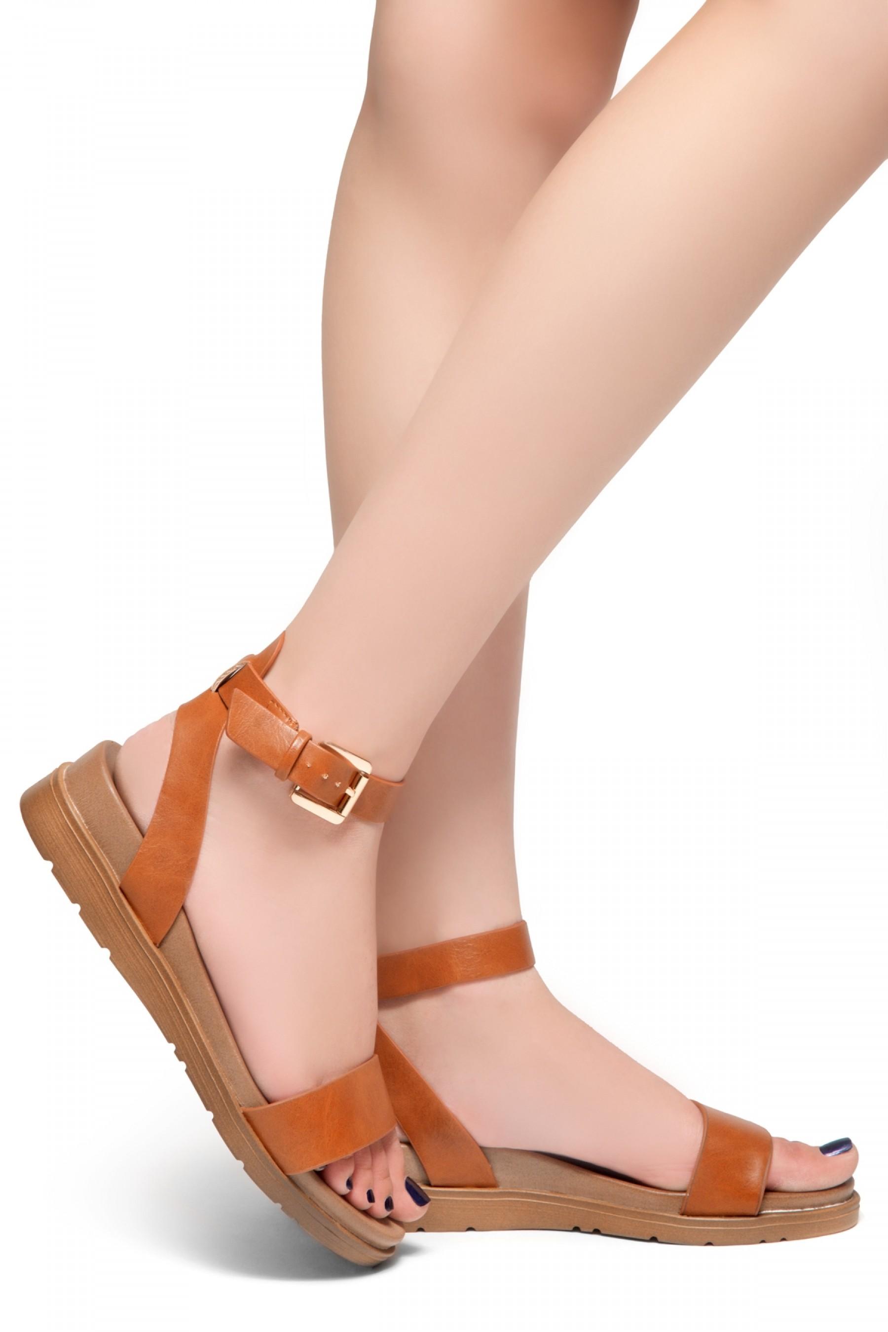 HerStyle Needed Me- Ankle Strap Flat Platform Sandal (Tan)