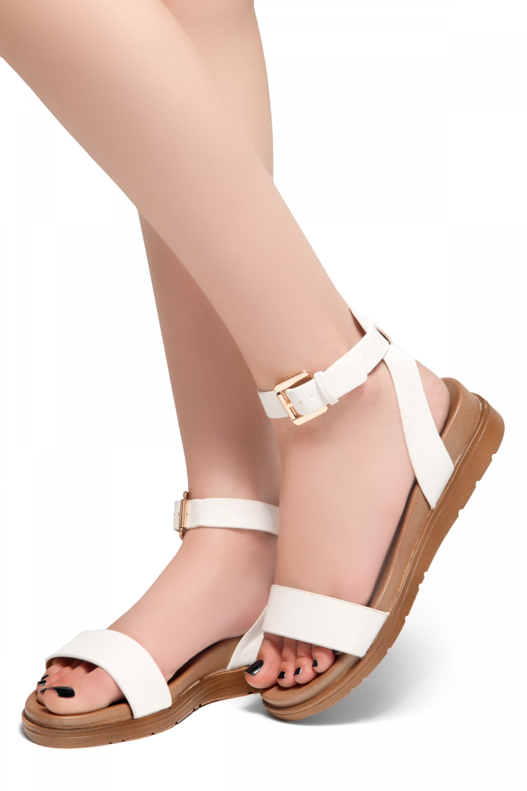 on wholesale 100% quality pre order HerStyle Needed Me- Ankle Strap Flat Platform Sandal (White)