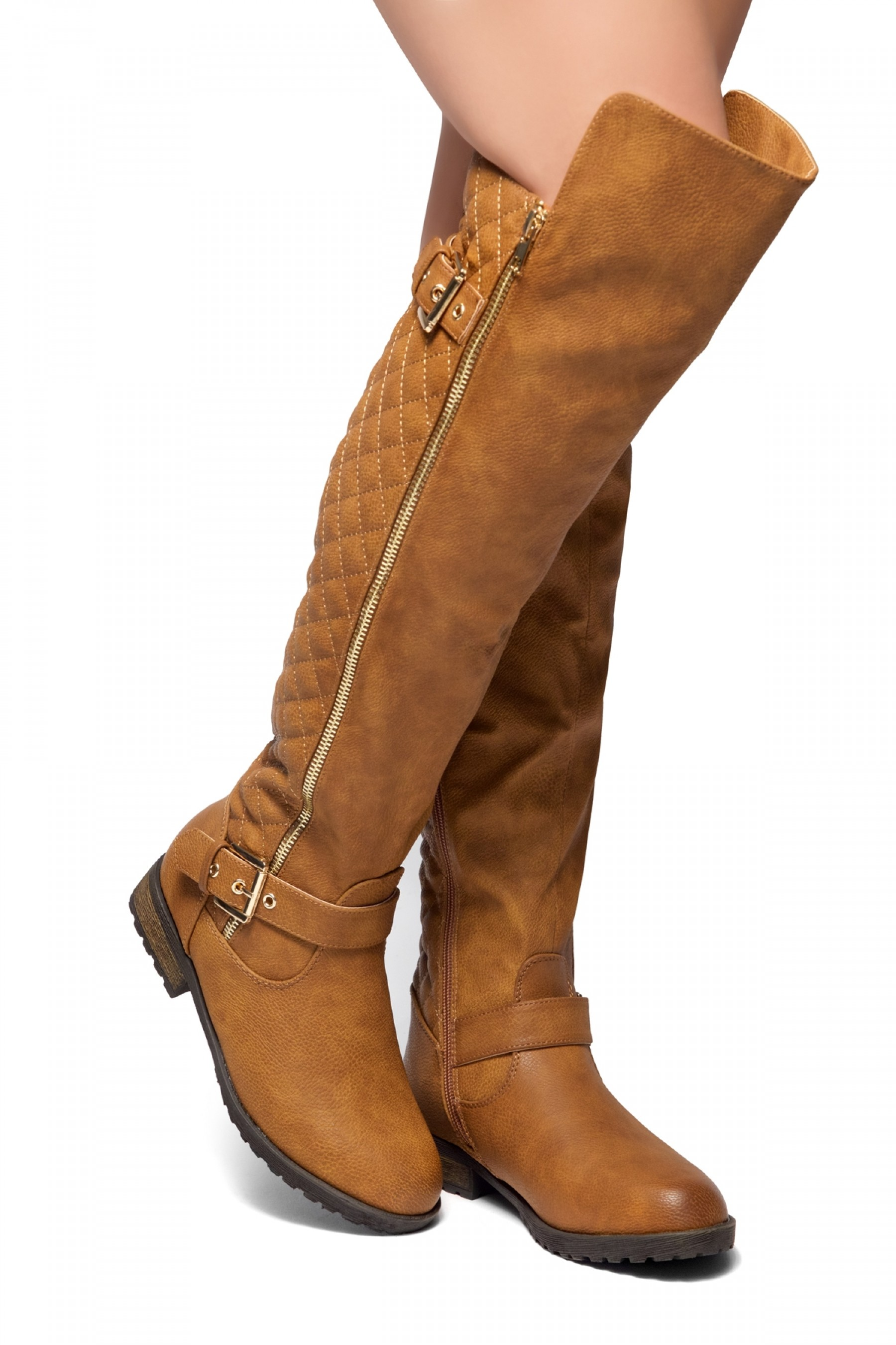 HerStyle Neekkaa-Quilted Zipper Buckle over Knee Riding Boots (Cognac)