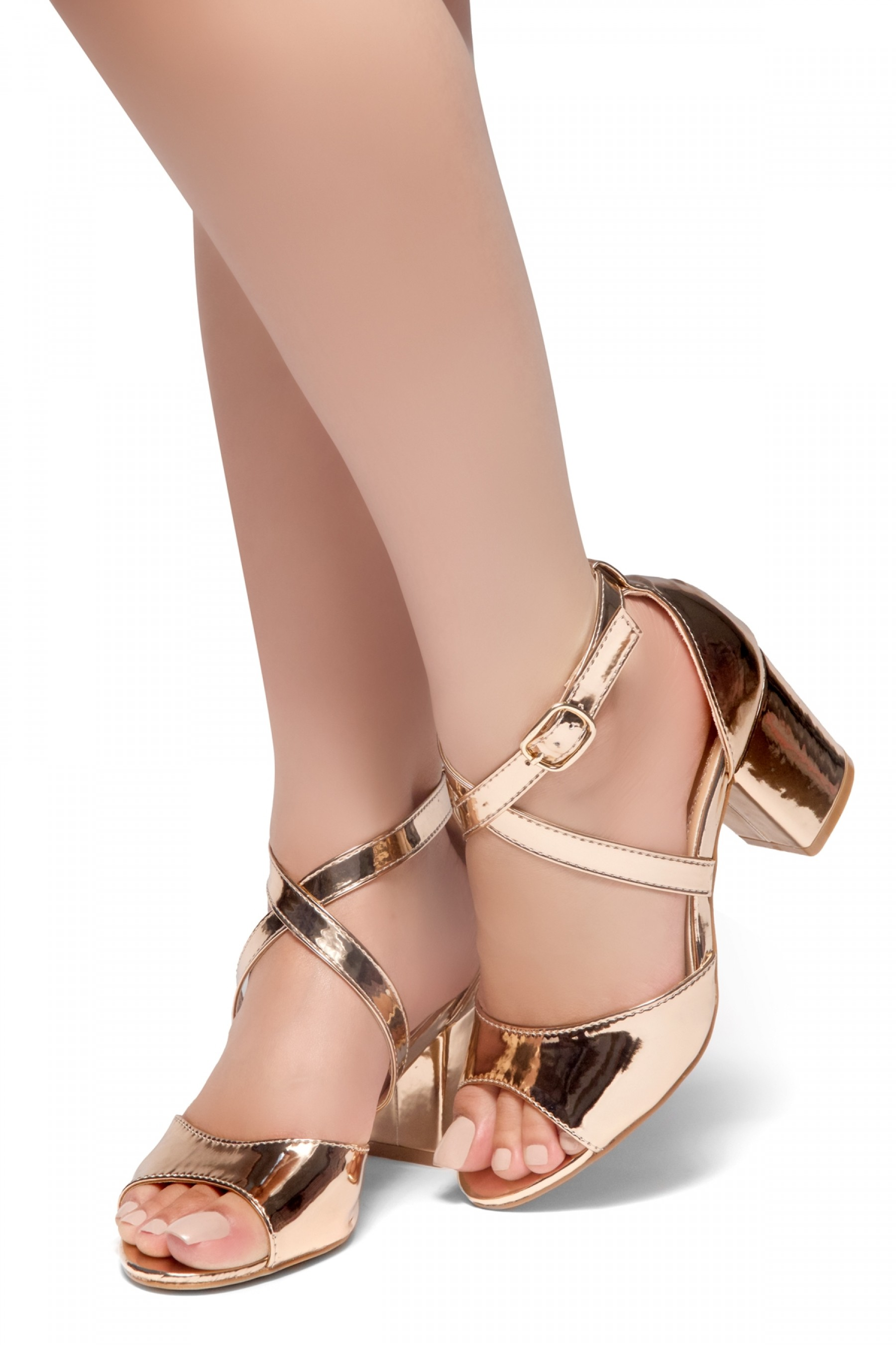 Herstyle New Horizon Peep Toe Vamp Straps Across Ankle With Back Closure Low Chunky Heel Sandal Rosegold