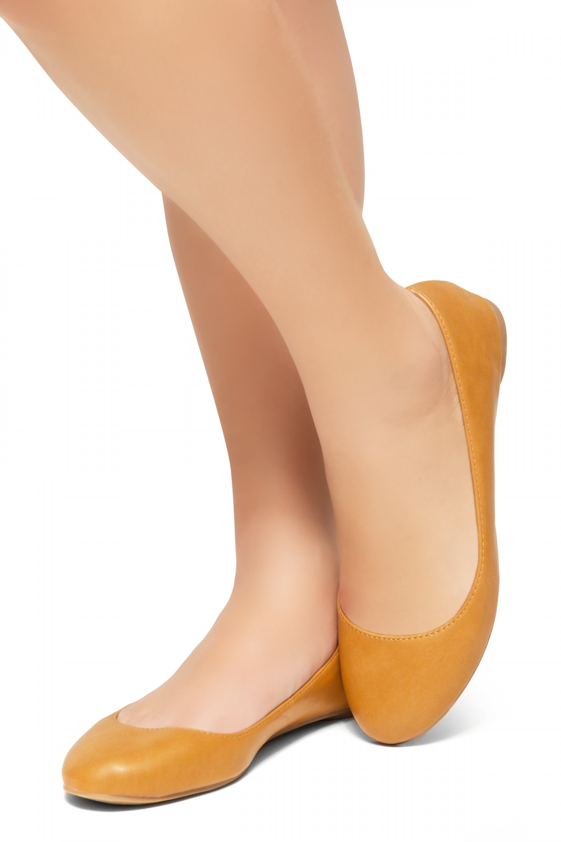 HerStyle New Memory-2 -Round Toe, No detail, Ballet Flat (Camel)