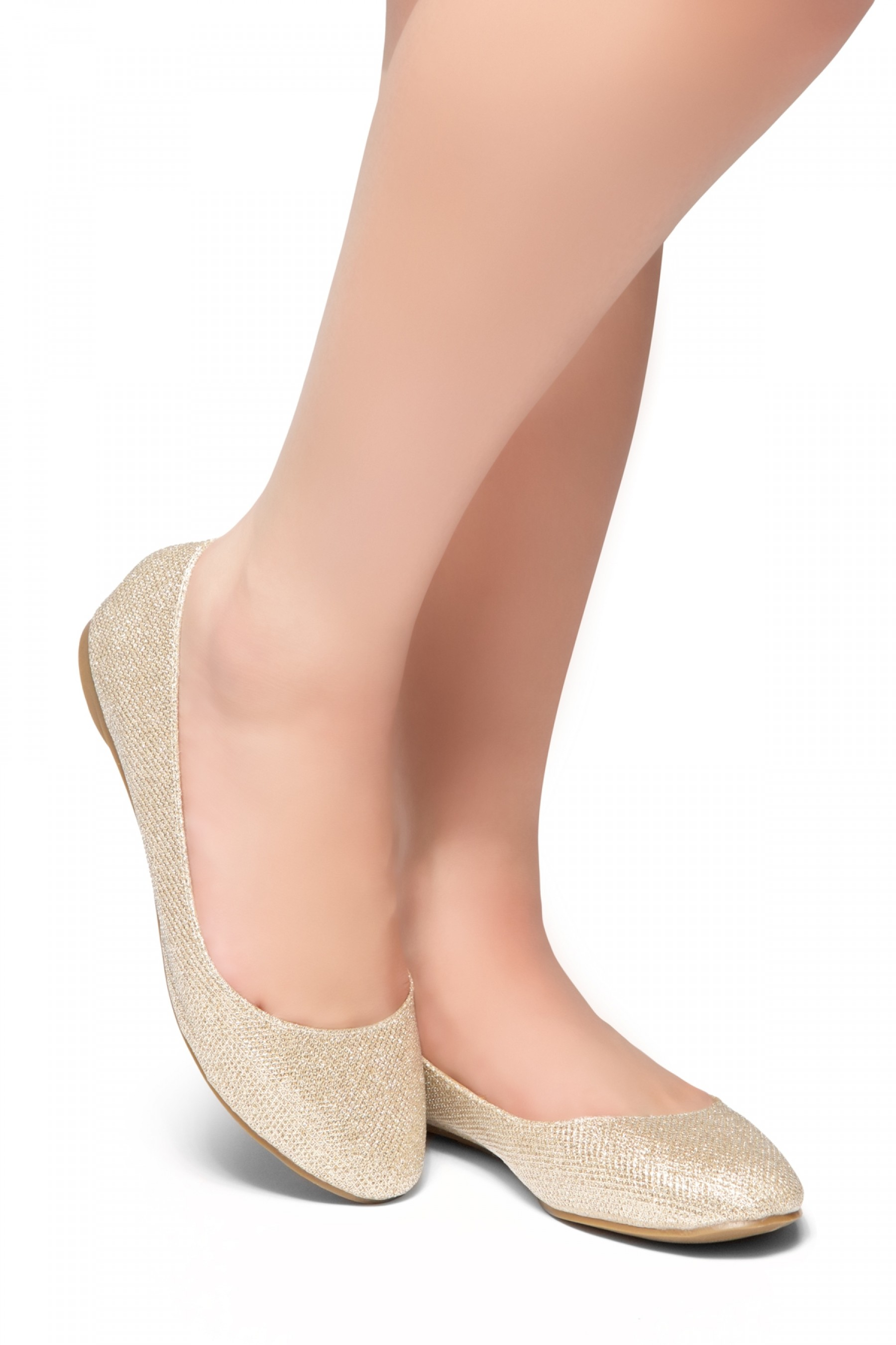 HerStyle New Memory-Round Toe, No detail, Ballet Flat (Champagne)